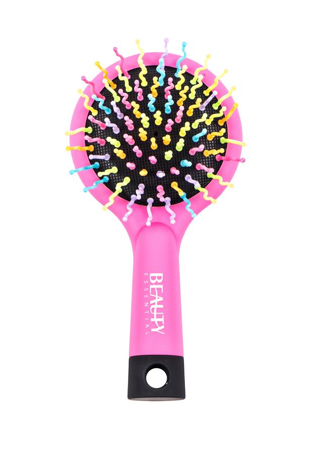 Beauty Essential Маленькая расческа Радуга, розоваяSatin Hair 7 BR730MNРасчески Beauty Essential с радужной щетиной не только бережно расчесывают волосы, но и поднимают настроение! Компактная расческа с зеркалом станет незаменимым предметом в сумочке.