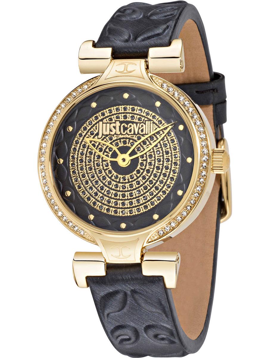 Наручные часы женские Just Cavalli Lady J, цвет: серый. R7251579503BM8434-58AEЧасы наручные Just Cavalli R7251579503, стразы из стекла, ПВД покрытие золотом