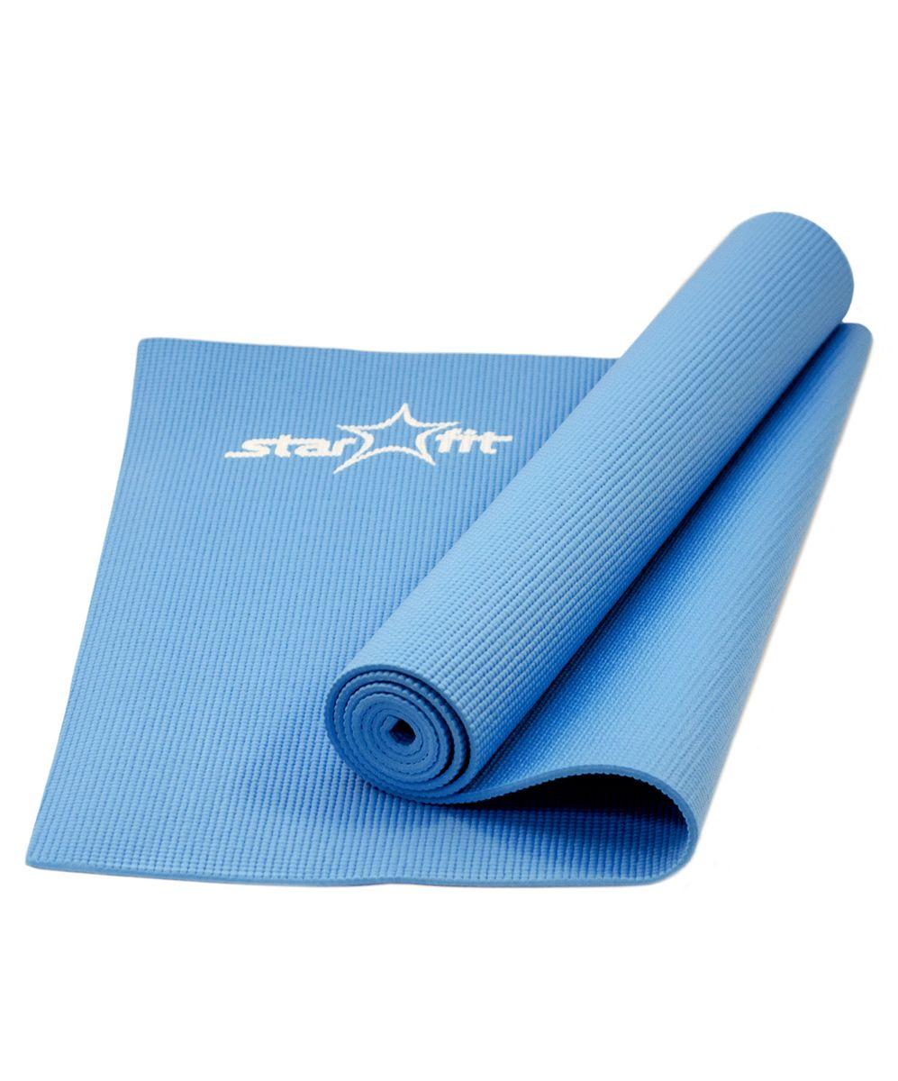 Коврик для йоги Starfit FM-101, цвет: синий, 173 х 61 х 0,5 смMCI54145_WhiteКоврик для йоги Star Fit FM-101 - это незаменимый аксессуар для любого спортсмена как во время тренировки, так и во время пре-стретчинга (растяжки до тренировки) и стретчинга (растяжки после тренировки). Выполнен из высококачественного ПВХ. Коврик используется в фитнесе, йоге, функциональном тренинге. Его используют спортсмены различных видов спорта в своем тренировочном процессе.Предпочтительно использовать без обуви. Если в обуви, то с мягкой подошвой, чтобы избежать разрыва поверхности коврика.