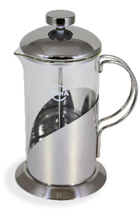 Френч-пресс TimA Тирамису, 600 мл115510Френч-пресс TimA Тирамису, изготовленный из жаропрочного стекла и высококачественной нержавеющей стали, это совершенный чайник для ежедневного использования. Изделие с плотной крышкой и удобной ручкой имеет специальный поршень с фильтром из нержавеющей стали для отделения чайных листьев от воды. После заваривания чая фильтр не надо вынимать.Заваривание чая - это приятное и легкое занятие. Френч-пресс TimA Тирамису займет достойное место на вашей кухне. Можно мыть в посудомоечной машине.Объем френч-пресса: 600 мл.Диаметр френч-пресса (по верхнему краю): 8,5 см.Высота френч-пресса (без учета крышки): 16,5 см.Высота френч-пресса (с учетом крышки): 20,5 см.