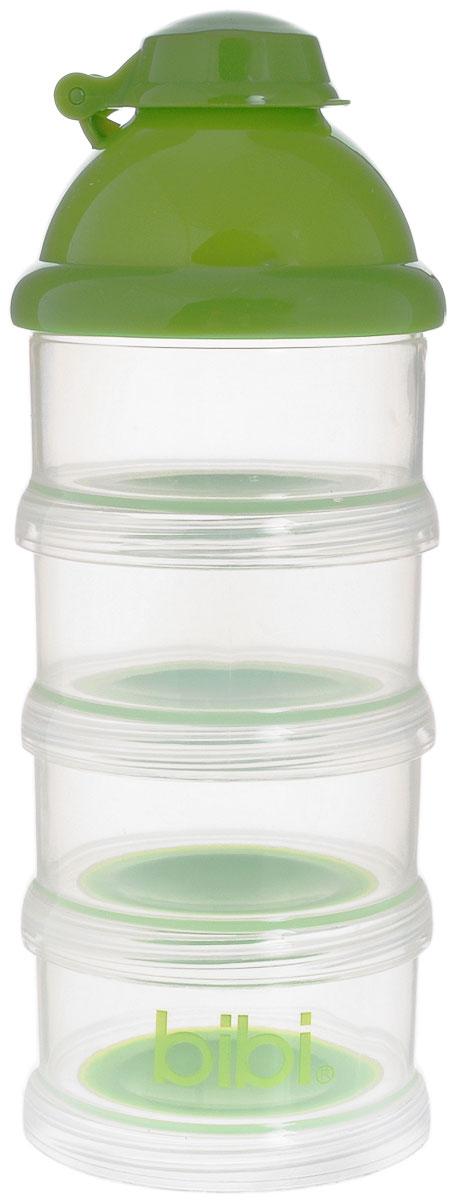 """Порционный дозатор для детского питания """"Bibi"""" состоит из четырех контейнеров с удобным приспособлением для высыпания смеси и съемной крышечки-воронки, которая подходит для любых бутылочек. Пригоден для приготовления молочной смеси как дома, так и в поездке. Удобный дозатор обеспечивает хранение сухого молока в гигиенических условиях. Не содержит бисфенол А!"""