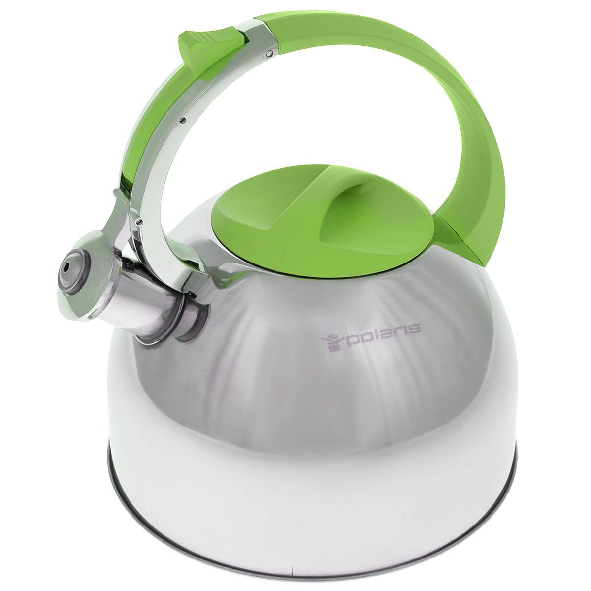 Чайник Polaris Sound со свистком, цвет: салатовый, 3 л115510Чайник Polaris Sound изготовлен из высококачественной нержавеющей стали 18/10. Съемная крышка позволяет легко наполнить чайник водой и обеспечить доступ для мытья. Чайник оповещает о вскипании мелодичным свистом. Клапан на носике открывается нажатием кнопки на ручке. Эргономичная ручка выполнена из бакелита с покрытием Soft touch, не нагревается и не скользит в руке.Зеркальная полировка придает посуде эстетичный вид.Подходит для всех типов плит, в том числе для индукционных.Высота стенок чайника: 14 см.Высота чайника (с учетом ручки): 24,5 см.