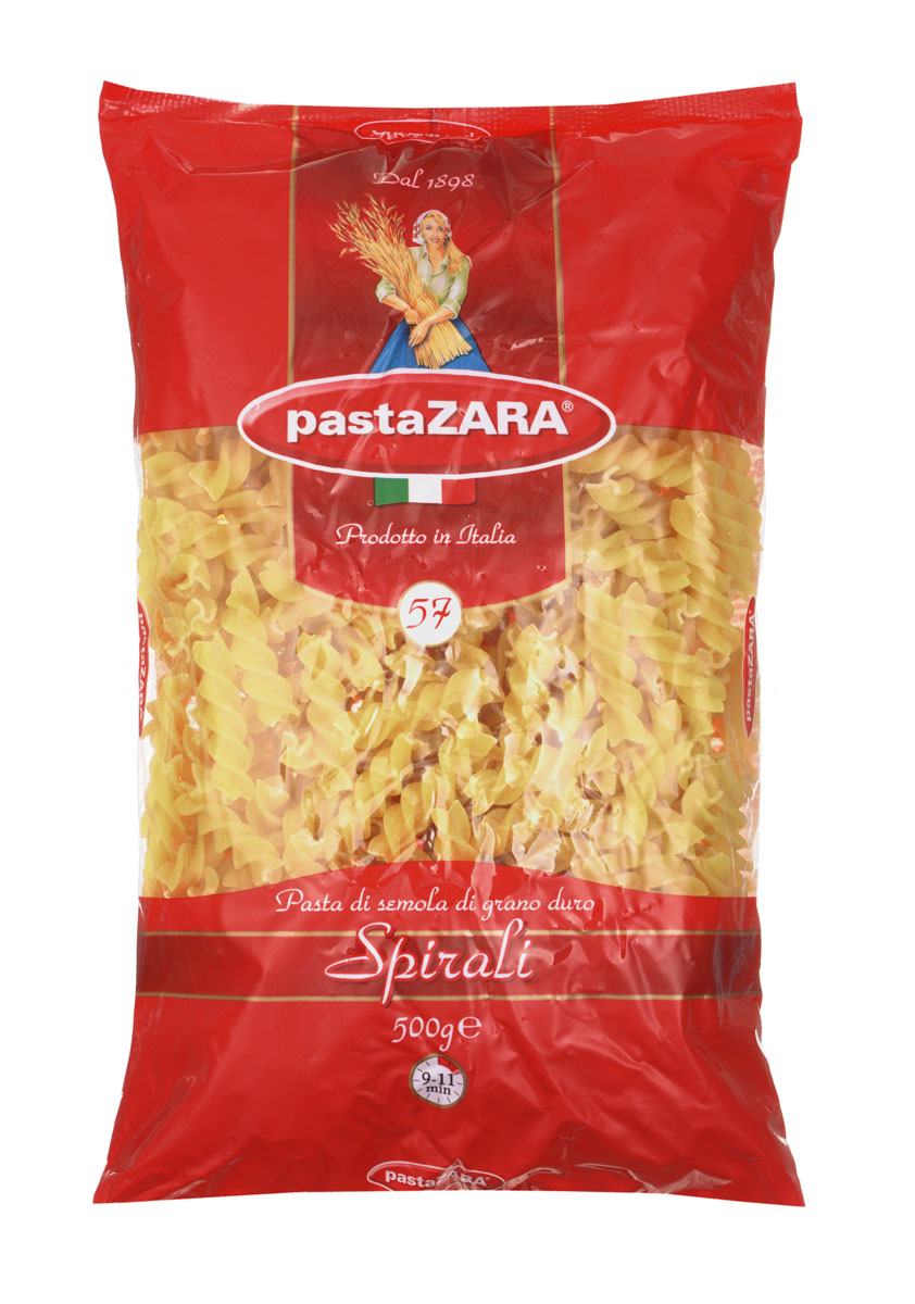 Pasta Zara Спираль макароны, 500 г0120710Макароны-спирали Pasta Zara 057 сочетают в себе современность технологий производства и традиционное итальянское качество. Необычная форма изделий украсит каждое ваше блюдо, а благодаря твердым сортам пшеницы, входящим в состав, они сохранят форму и не разварятся при приготовлении.