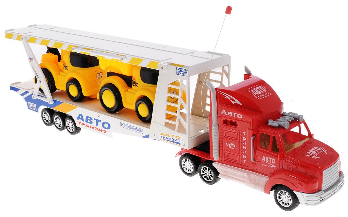 """Набор игровой """"Авто-транзит"""" на радиоуправлении - это 3 игрушки в одной упаковке с оригинальным дизайном. Трейлер с поднимающимся вторым этажом и 2 машинки управляющиеся дистанционно. Модель машины с пластмассовыми частями, со свободно вращающимися колесами, воспроизводят звуковые эффекты при езде. Модель изготовлена из прочного пластика, имеет прорезиненные колеса, которые обеспечивают надежное сцепление с поверхностью, и дополнена световыми эффектами. Универсальная игрушка, которая подарит вашим детям много радости и приятное времяпрепровождение за игрой. Отличный вариант для пополнения коллекции игрушек. Ваш ребенок часами будет играть с моделью, придумывая различные истории и устраивая соревнования. Порадуйте его таким замечательным подарком! Для работы пульта управления необходимо докупить 2 батарейки типа АА (входят в комплект). Для работы трейлера необходимо докупить 4 батарейки напряжением 1,5V типа АА (входят комплект)."""