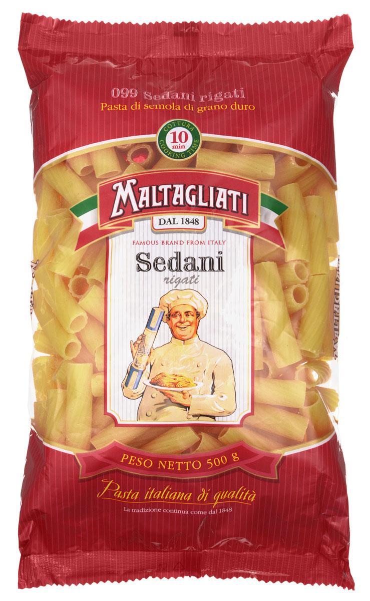 Maltagliati Sedani rigati Труба прямая макароны, 500 г0120710Макаронные изделия Maltagliati производятся в Италии в Тоскане с 1848 года. Несмотря на то, что Maltagliati - это имя собственное, с начала прошлого века Maltagliati используется в Италии как нарицательное имя для домашней лапши и формата макаронных изделий похожих на домашнюю лапшу. Это самые известные итальянские макаронные изделия на территории Российской Федерации и, вероятно, всего бывшего СССР.