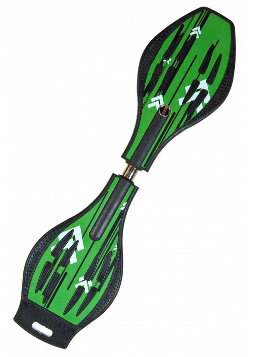Скейтборд DragonBoard Line, двухколесный, цвет: зеленый, черный, дека 87 х 23 смво680Двухколесный балансирующий скейтборд Dragon Board Lineимеет классическую конструкцию с торсионной пружиной. Дека выполнена из прочного ABS-пластика и оснащена противоскользящим покрытием, что обеспечит комфортное и безопасное катание. Колеса скейтборда выполнены из прочного полиуретана и вращаются на 360°. Скейтбординг - это зрелищный и экстремальный вид спорта, представляющий собой катание на роликовой доске с преодолением препятствий и выполнением различных трюков.