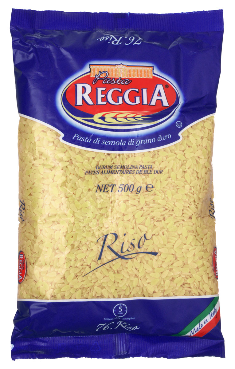 Pasta Reggia Рисинки макароны, 500 г0120710Макароны-рисинки Pasta Reggia 076 произведены по классическим рецептам неаполитанской кухни Юга Италии. Данные изделия можно добавлять в супы, детские блюда или приготовить ваше собственное кулинарное изобретение-они прекрасно дополнят его и благодаря отличным вкусовым качествам порадуют даже самых притязательных гурманов!