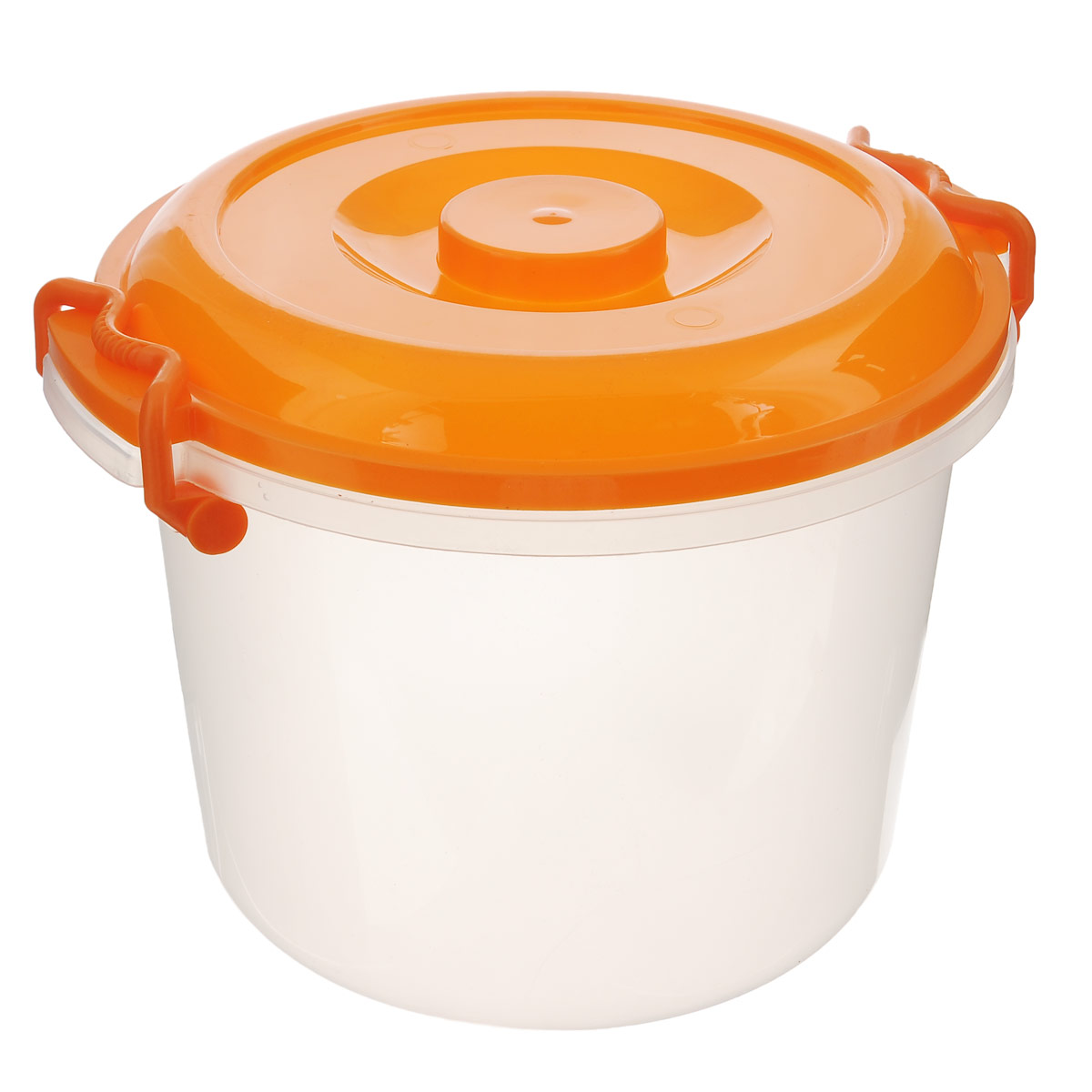Контейнер Альтернатива, цвет: оранжевый, прозрачный, 8 лМ098Контейнер Альтернатива изготовлен из высококачественного пищевого пластика. Изделие оснащено крышкой и ручками, которые плотно закрывают контейнер. Также на крышке имеется ручка для удобной переноски. Емкость предназначена для хранения различных бытовых вещей и продуктов.Такой контейнер очень функционален и всегда пригодится на кухне.Диаметр контейнера (по верхнему краю): 25 см. Высота контейнера (без учета крышки): 21 см. Объем: 8 л.