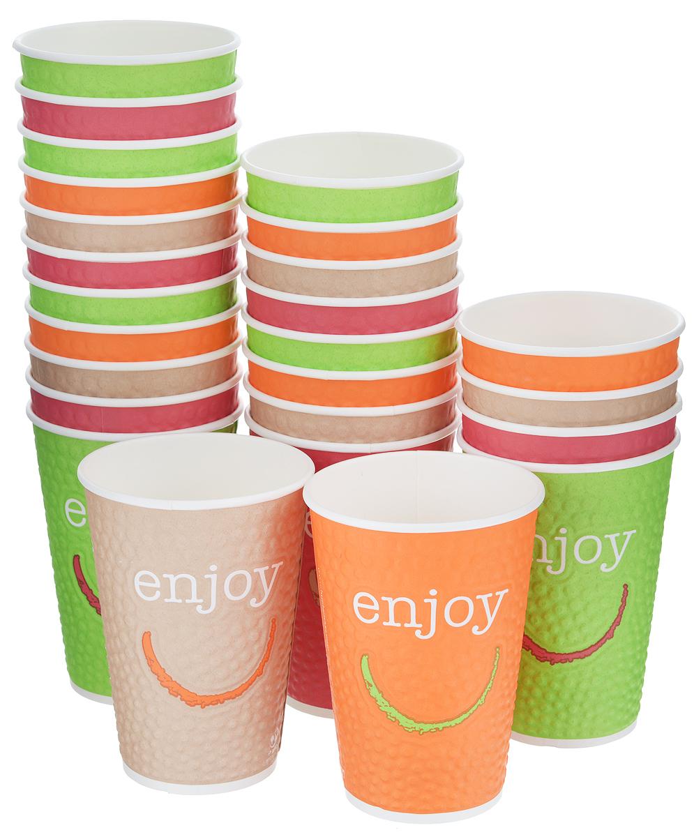 Набор одноразовых стаканов Huhtamaki Enjoy, бумажные, 400 мл, 25 штВетерок-2 У_6 поддоновОдноразовые стаканы Huhtamaki Enjoy изготовлены из двуслойной плотной бумаги с внутренней ламинацией. Они отлично подойдут для кофе, какао, шоколада и других горячих и холодных напитков. Несмотря на то, что стаканы бумажные, они очень прочные и не промокают. Диаметр стакана (по верхнему краю): 8,5 см. Высота стакана: 12,5 см.