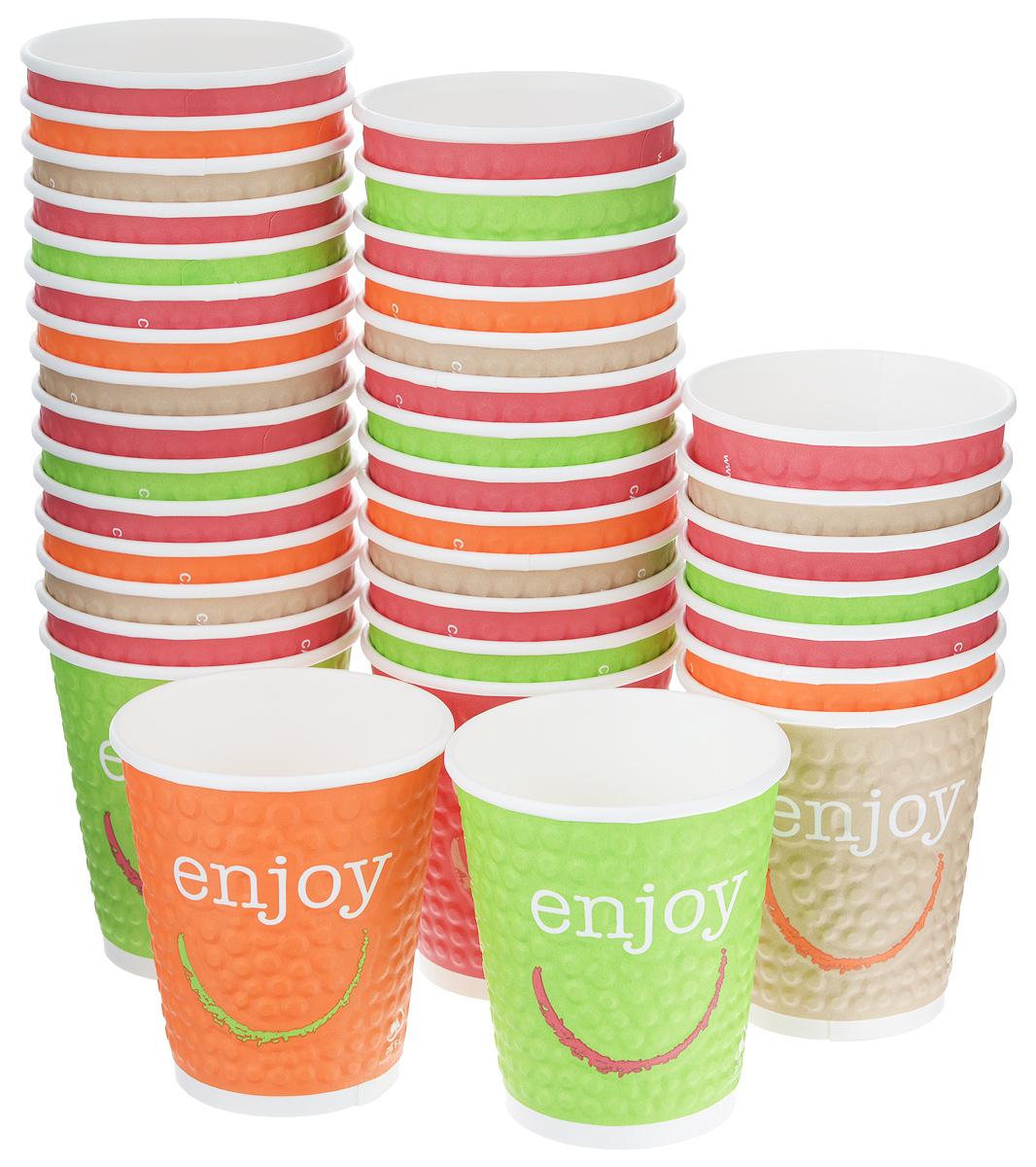 Набор одноразовых стаканов Huhtamaki Enjoy, 200 мл, 37 штСУ120Одноразовые стаканы Huhtamaki Enjoy изготовлены из плотной бумаги и оформлены оригинальным рисунком. Изделия предназначены для подачи холодных напитков. Вы можете взять их с собой на природу, в парк, на пикник и наслаждаться вкусными напитками. Несмотря на то, что стаканы бумажные, они очень прочные и не промокают. Диаметр стакана (по верхнему краю): 8 см.Высота стакана: 8,5 см.
