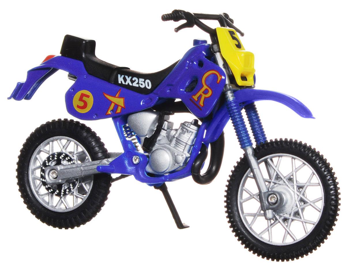 """Кроссовый мотоцикл Dickie Toys """"№ 5"""" непременно понравится любому маленькому гонщику. Мотоцикл выполнен из прочного безопасного пластика, его колесики прорезинены для лучшего сцепления с поверхностью пола. Мотоцикл оснащен откидывающейся боковой ножкой и оформлен красочными стикерами. Яркий, реалистичный мотоцикл, выполненный с вниманием к деталям, станет отличным дополнением к автопарку вашего малыша! Ваш ребенок часами будет играть с такой игрушкой, придумывая различные истории и устраивая соревнования. Порадуйте его таким замечательным подарком!"""