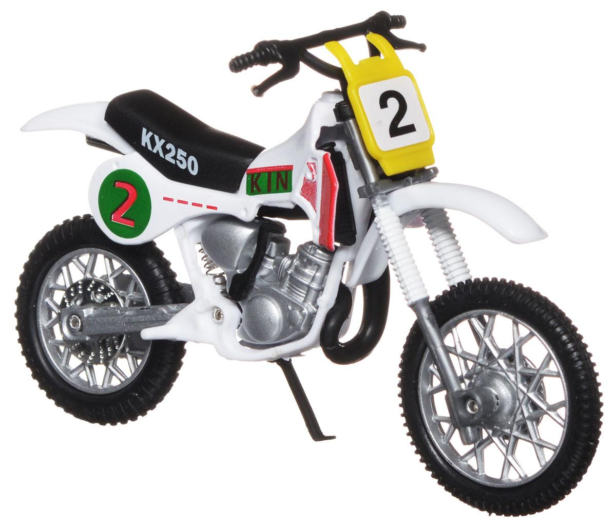 """Кроссовый мотоцикл Dickie Toys """"№2"""" непременно понравится любому маленькому гонщику. Мотоцикл выполнен из прочного безопасного пластика, его колесики прорезинены для лучшего сцепления с поверхностью пола. Мотоцикл оснащен откидывающейся боковой ножкой и оформлен красочными стикерами. Яркий, реалистичный мотоцикл, выполненный с вниманием к деталям, станет отличным дополнением к автопарку вашего малыша! Ваш ребенок часами будет играть с такой игрушкой, придумывая различные истории и устраивая соревнования. Порадуйте его таким замечательным подарком!"""