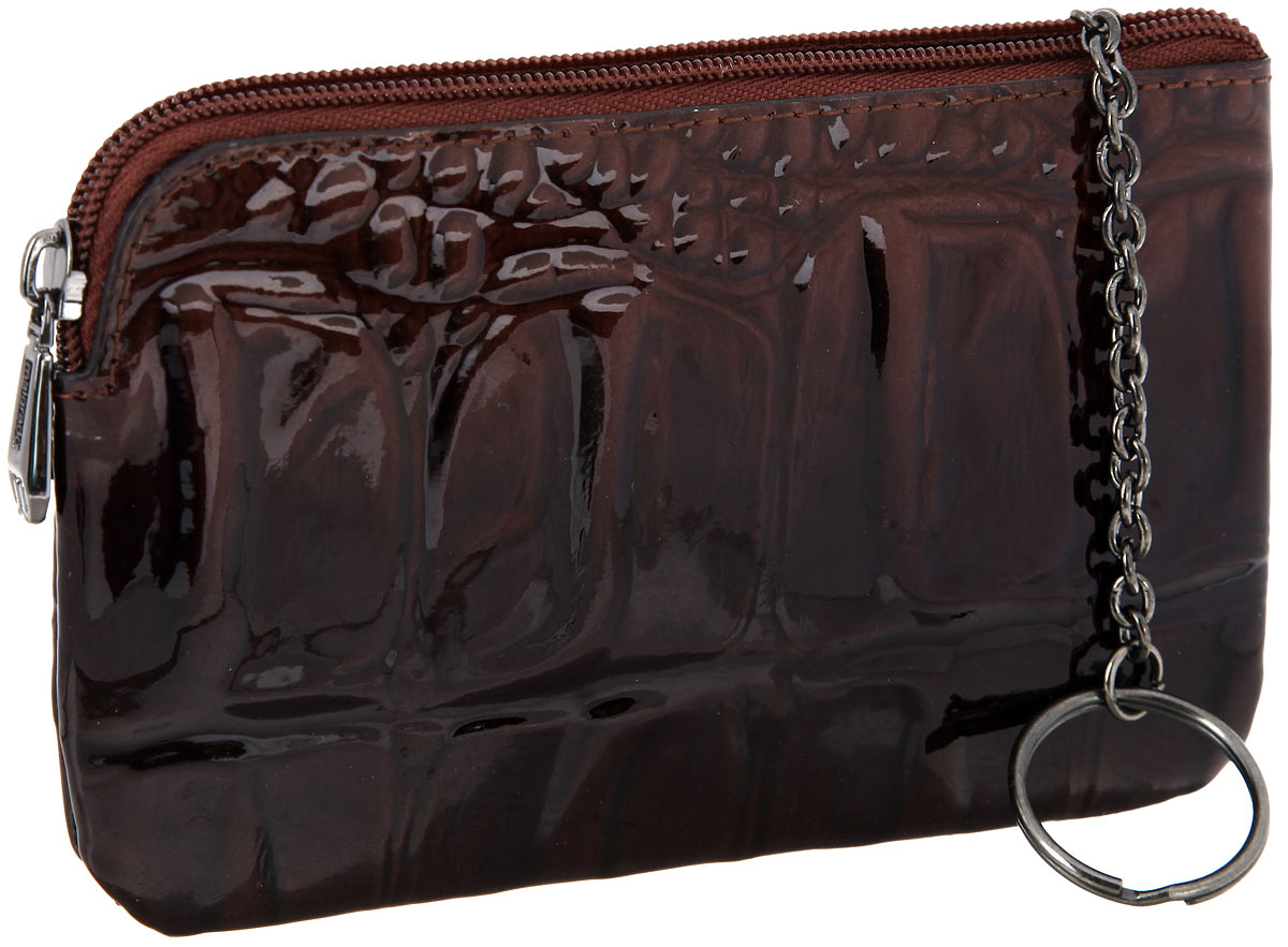 Ключница женская Malgrado, цвет: коричневый. 50501-04403Брошь-кулонСтильная ключница Malgrado выполнена из натуральной кожи с тиснением под рептилию, оформлена металлической фурнитурой с символикой бренда.Изделие закрывается на застежку-молнию. Внутри расположено кольцо для ключей на цепочке. Снаружи, на тыльной стороне ключницы, распложен врезной кармашек на молнии. Изделие поставляется в фирменной упаковке.Ключница Malgrado станет отличным подарком для человека, ценящего качественные и практичные вещи.