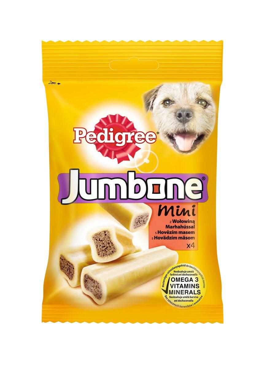 Лакомство Pedigree Jumbone Mini, для миниатюрных собак, с говядиной, 180 г40163Лакомство Pedigree Jumbone Mini выполнено в виде жевательных палочек и предназначено для миниатюрных собак. Это прекрасное лакомство и средство для чистки зубов. Жевательное лакомство не подходит для щенков моложе 4-х месяцев.Состав: злаки, продукты растительного происхождения, сахара, мясо и субпродукты (в том числе 4% говядины), минералы, белковые растительные экстракты, семена, масла и жиры, травы. Пищевая ценность (в 100 г): белок - 7,3 г, жиры - 2,1 г, зола - 4,1 г, клетчатка - 2,4 г, влажность - 13 г, кальций - 0,6 г, Омега 3 жирные кислоты - 58,3 мг, витамин А - 502 МЕ, витамин Е - 5,02 мг, сульфат железа - 4,59 мг.Энергетическая ценность (100 г): 320 ккал. Вес упаковке: 180 г. Количество в упаковке: 4 шт. Товар сертифицирован.
