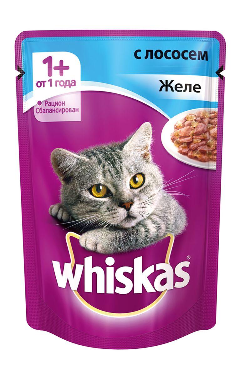 Консервы для кошек от 1 года Whiskas, желе с лососем, 85 г12171996Консервы для кошек от 1 года Whiskas - полнорационный сбалансированный корм, который идеально подойдет вашему любимцу. Аппетитное желе приготовлено с учетом потребностей взрослых кошек. Специально сбалансированный рацион содержит все питательные вещества, витамины и минералы, необходимые кошке в этом возрасте. Консервы не содержат сои, консервантов, ароматизаторов, искусственных красителей и усилителей вкуса.В рацион домашнего любимца нужно обязательно включать консервированный корм, ведь его главные достоинства - высокая калорийность и питательная ценность. Консервы лучше усваиваются, чем сухие корма. Также важно, чтобы животные, имеющие в рационе консервированный корм, получали больше влаги.Вес: 85 г.Состав: мясо и субпродукты, рыба (в том числе лосось минимум 4%), таурин, злаки, витамины, минеральные вещества.Пищевая ценность в 100 г: белки - 7,5 г, жиры - 3,5 г, клетчатка - 0,3 г, зола - 2,5 г, витамин А - не менее 150 МЕ, витамин Е - не менее 1,0 мг, влага - 85 г.Энергетическая ценность в 100 г: 60 ккал/251 кДж.Товар сертифицирован.