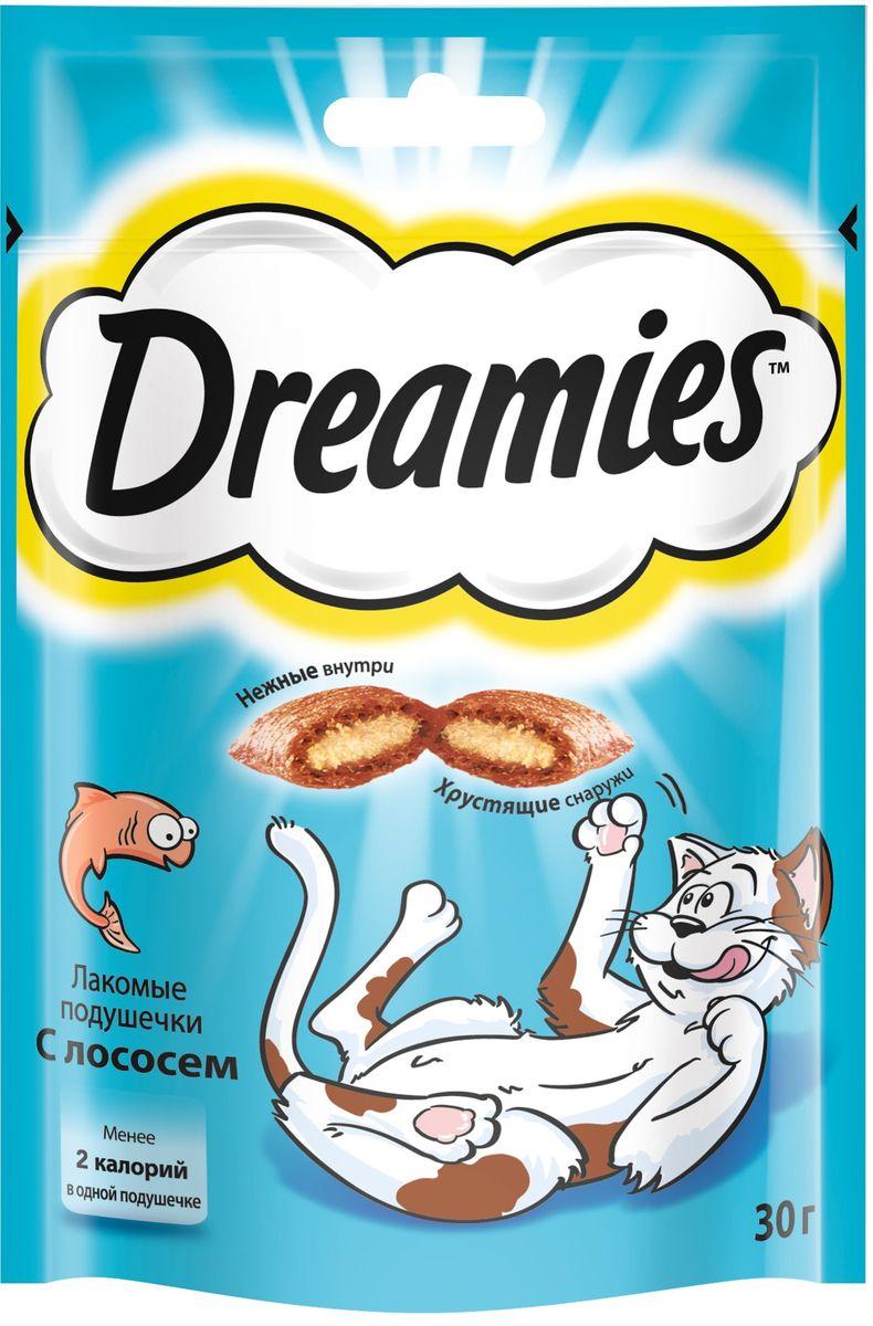 Лакомство для взрослых кошек Dreamies, подушечки с лососем, 30 г0120710Лакомство Dreamies - это сказочное лакомство, выполненное в виде хрустящих подушечек с вкусной начинкой, является добавкой к ежедневному рациону кошки. Обогащено витаминами и минералами. Незабываемый нежный лосось в хрустящей вкусной подушечке - это достойная награда вашему любимому зверю.Состав: белковые растительные экстракты, злаки, мясо и субпродукты (включая 4% говядины), масло и жиры, витамины и минеральные вещества, рыба и субпродукты (включая 4% лосося).Пищевая ценность в 100 г: белки - 34 г, жиры - 20 г, зола - 9,5 г, клетчатка - 1 г, влага - 10 г, витамин А - 528,8 МЕ, витамин Е - 8,8 мг, витамин В1 - 1,5 мг, витамин В2 - 0,7 мг, витамин В6 - 0,6 мг, витамин D3 - 58,3 МЕ, пентагидрат сульфата меди - 2,3 мг, моногидрат сульфата марганца- 4,1 мг, йодид калия - 0,2 мг, моногидрат сульфата цинка - 18,3 мг.Вес: 30 г.Энергетическая ценность в 100 г: 386 ккал.Товар сертифицирован.
