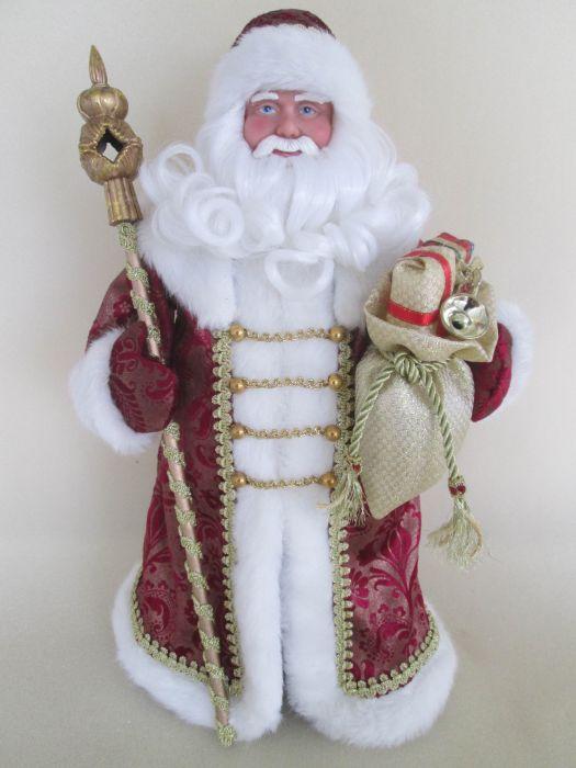 Новогодняя фигурка Дед Мороз в бордовом костюме арт.39090NLED-454-9W-BKНовогодняя фигурка Дед Мороз в бордовом костюме арт.39090 (41см, из пластика и ткани) арт.39090