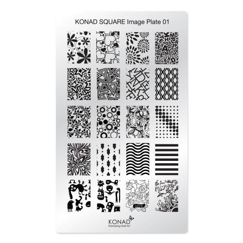 Konad Square Пластина для степинга Square Image Plate015010777139655Плитка для степинга. Больше узоров, больше творчества. Нанести лак на диск для стемпинга, убрать излишки скрапером, отпечатать на штамп и перенести на ноготь.