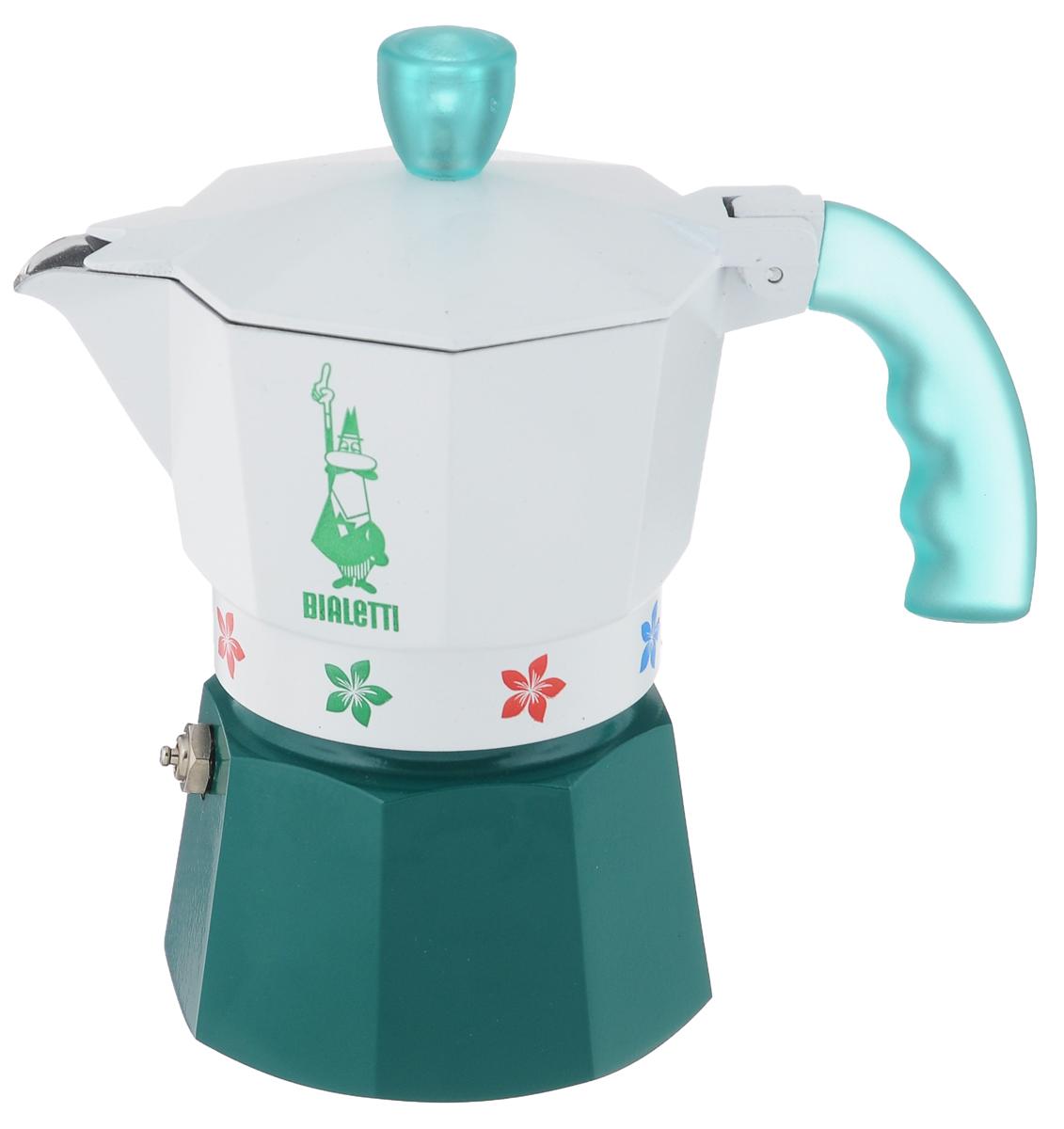 Кофеварка гейзерная Bialetti Moka Fiori Caldaia Verde, цвет: белый, зеленый, на 3 чашки115510Компактная гейзерная кофеварка Bialetti Moka Fiori Caldaia Verde изготовлена из высококачественного алюминия и стали. Объема кофе хватает на 3 чашки. Изделие оснащено удобной пластиковой ручкой.Принцип работы такой гейзерной кофеварки - кофе заваривается путем многократного прохождения горячей воды или пара через слой молотого кофе. Удобство кофеварки в том, что вся кофейная гуща остается во внутренней емкости. Гейзерные кофеварки пользуются большой популярностью благодаря изысканному аромату. Кофе получается крепкий и насыщенный. Теперь и дома вы сможете насладиться великолепным эспрессо. Подходит для газовых, электрических и стеклокерамических плит. Нельзя мыть в посудомоечной машине. Высота (с учетом крышки): 16 см.