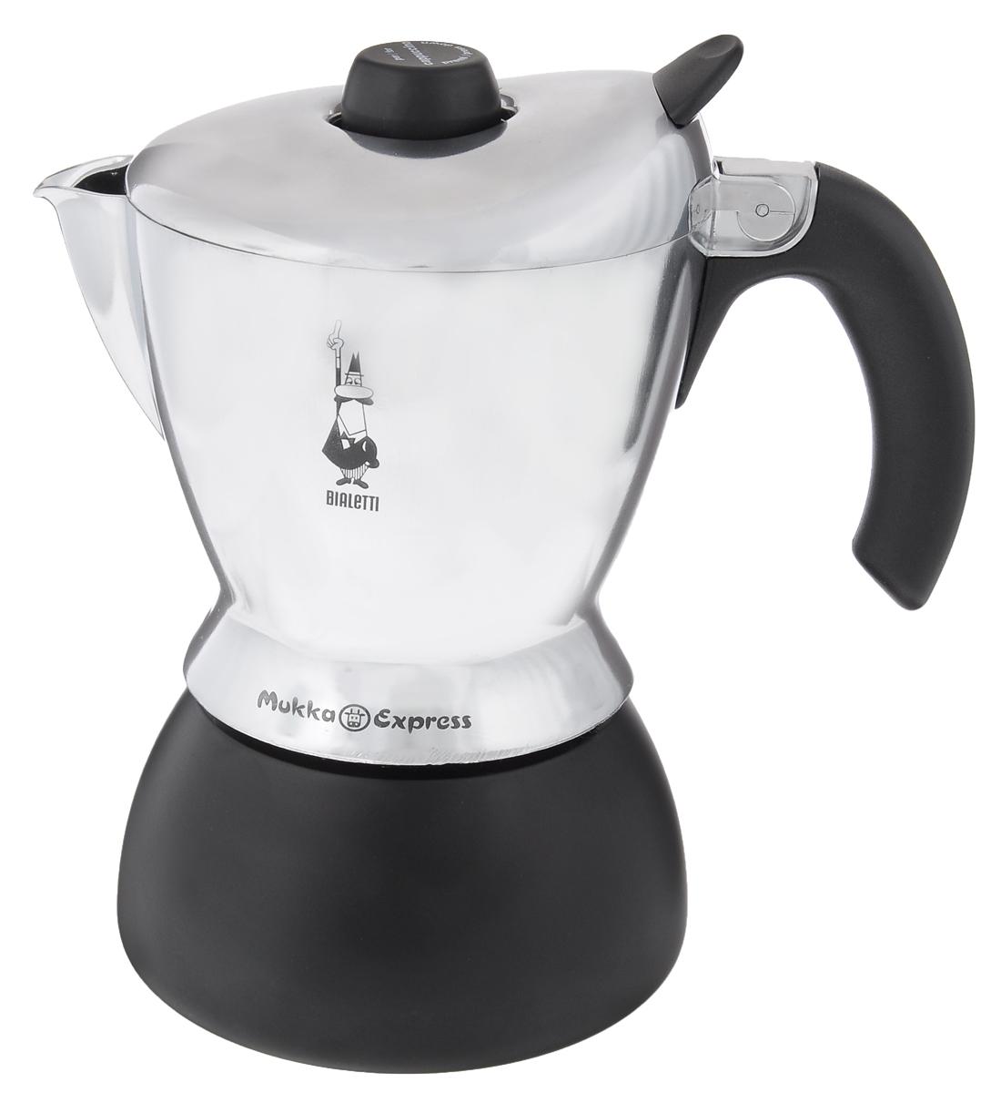 Кофеварка гейзерная Bialetti Mukka GG 2, на 2 чашки115510Компактная гейзерная кофеварка Bialetti Mukka GG 2 изготовлена из высококачественного алюминия и стали. Объема кофе хватает на 2 чашки. Изделие оснащено удобной ручкой из бакелита.Принцип работы такой гейзерной кофеварки - кофе заваривается путем многократного прохождения горячей воды или пара через слой молотого кофе. Удобство кофеварки в том, что вся кофейная гуща остается во внутренней емкости. Гейзерные кофеварки пользуются большой популярностью благодаря изысканному аромату. Кофе получается крепкий и насыщенный. Теперь и дома вы сможете насладиться великолепным эспрессо. Подходит для газовых, электрических и стеклокерамических плит. Нельзя мыть в посудомоечной машине. В комплекте диск с видеоинструкцией.Высота (с учетом крышки): 21 см.