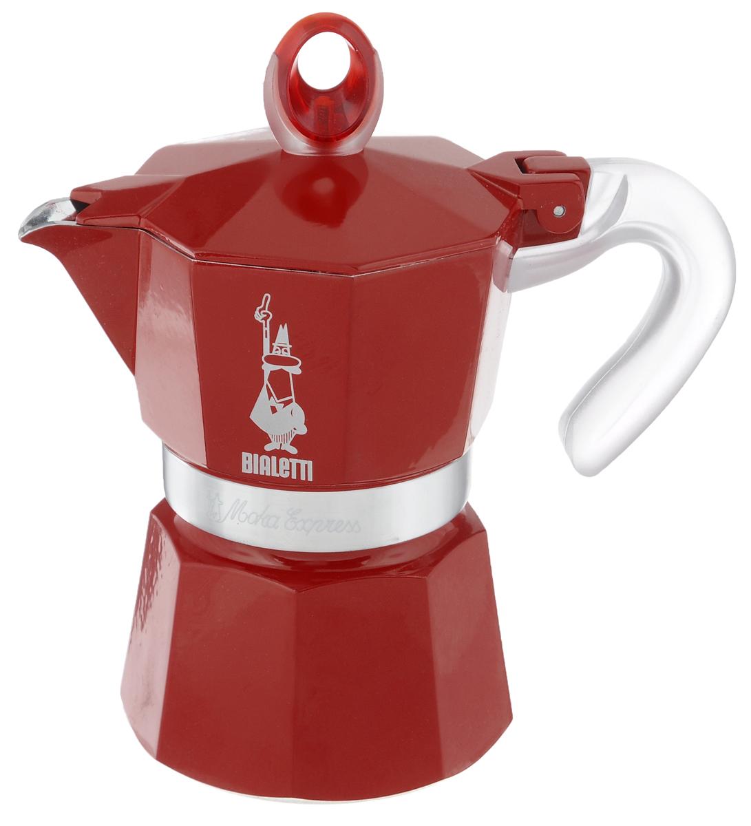 Кофеварка гейзерная Bialetti Moka Glossy, цвет: красный, на 3 чашки115510Компактная гейзерная кофеварка Bialetti Moka Glossy изготовлена из высококачественного алюминия. Объема кофе хватает на 3 чашки. Изделие оснащено удобной ручкой из пластика.Принцип работы такой гейзерной кофеварки - кофе заваривается путем многократного прохождения горячей воды или пара через слой молотого кофе. Удобство кофеварки в том, что вся кофейная гуща остается во внутренней емкости. Гейзерные кофеварки пользуются большой популярностью благодаря изысканному аромату. Кофе получается крепкий и насыщенный. Теперь и дома вы сможете насладиться великолепным эспрессо. Подходит для газовых, электрических и стеклокерамических плит. Нельзя мыть в посудомоечной машине. Высота (с учетом крышки): 17 см.