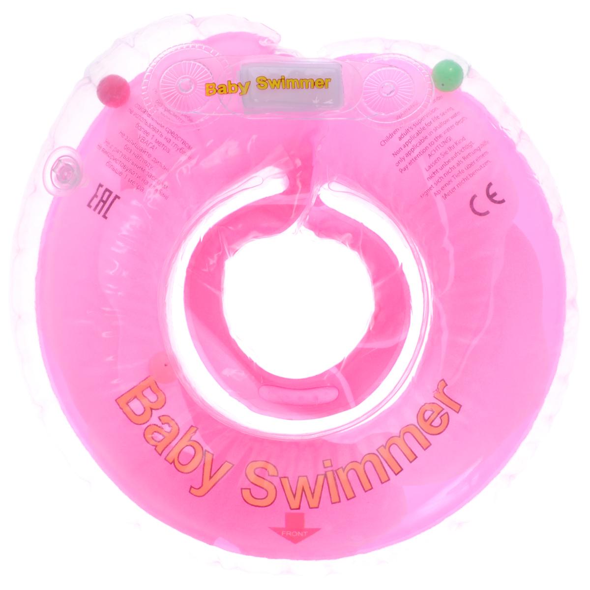 Baby Swimmer Круг на шею Розовый бутон с погремушкой 6-36 кг -  Круги для купания