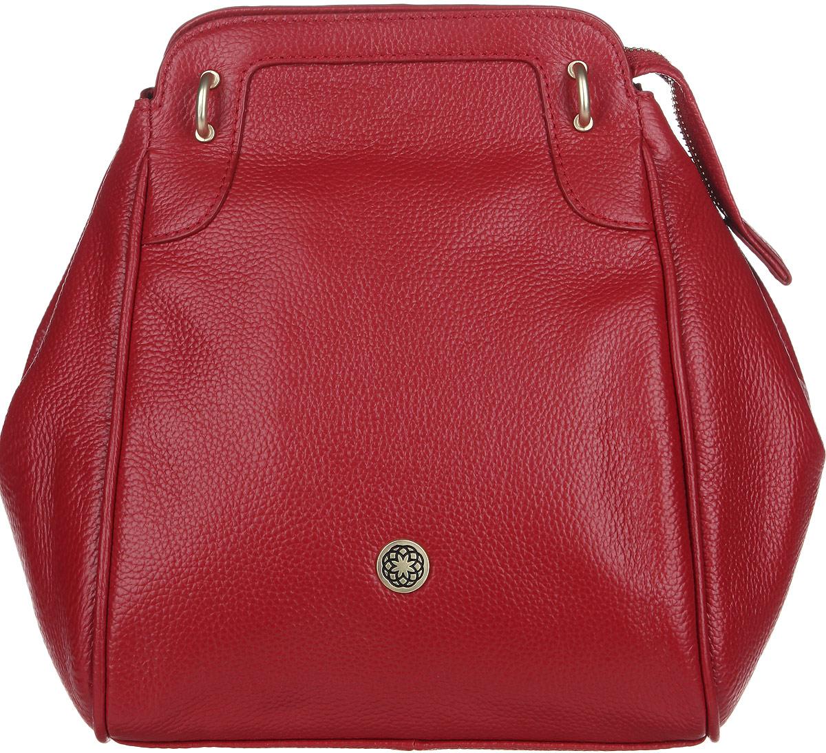 Сумка женская Fiorita, цвет: красный. 0665FS76245Стильная женская сумка Fiorita выполнена из натуральной кожи с фактурным тиснением. Изделие имеет одно основное отделение, которое закрывается на застежку-молнию. Дополнительно по бокам сумка застегивается на кнопки. Внутри находятся два прорезных кармашка на застежках-молниях и два накладных открытых кармашка. Снаружи, на задней стенке расположен прорезной карман на застежке-молнии. Изделие оснащено двумя съемными плечевыми ремнями, которые позволяют носить сумку на плече и трансформируют ее в рюкзак. Изделие упаковано в фирменный чехол. Такая сумка дополнит ваш образ и сделает его завершенным.