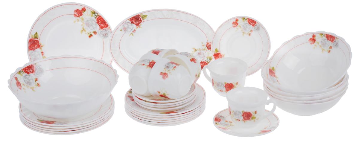 Набор столовой посуды Chinbull Классик, 32 предметаW-32I/6627Набор Chinbull Классик состоит из 6 обеденных тарелок, 6 десертных тарелок, 6 суповых тарелок, 6 чашек, 6 блюдец, салатника и овального блюда. Изделия выполнены из высококачественной стеклокерамики и декорированы изящным рисунком цветов. Посуда отличается прочностью, гигиеничностью и долгим сроком службы, она устойчива к появлению царапин и резким перепадам температур. Такой набор прекрасно подойдет как для повседневного использования, так и для праздников.Набор столовой посуды Chinbull Классик- это не только яркий и полезный подарок для родных и близких, а также великолепное дизайнерское решение для вашей кухни или столовой. Можно мыть в посудомоечной машине и использовать в микроволновой печи. Диаметр обеденной тарелки (по верхнему краю): 20 см. Высота обеденной тарелки: 2 см.Диаметр десертной тарелки (по верхнему краю): 17,5 см. Высота десертной тарелки: 1,6 см. Диаметр суповой тарелки (по верхнему краю): 17,5 см.Высота суповой тарелки: 5,5 см.Диаметр салатника (по верхнему краю): 23 см.Высота салатника: 7,5 см.Размер блюда: 25 см х 17 см х 2 см.Диаметр блюдца (по верхнему краю): 13,7 см.Высота блюдца: 1,6 см.Диаметр чашки (по верхнему краю): 8,5 см.Высота чашки: 6,5 см.Объем чашки: 200 мл.