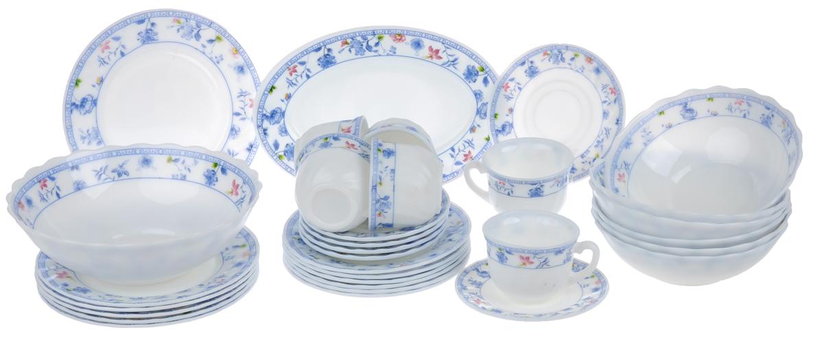 Набор столовой посуды Chinbull Лоран, 32 предметаVT-1520(SR)Набор Chinbull Лоран состоит из 6 обеденных тарелок, 6 десертных тарелок, 6 суповых тарелок, 6 чашек, 6 блюдец, салатника и овального блюда. Изделия выполнены из высококачественной стеклокерамики и имеют яркий дизайн с изящным рисунком цветов. Посуда отличается прочностью, гигиеничностью и долгим сроком службы, она устойчива к появлению царапин и резким перепадам температур. Такой набор прекрасно подойдет как для повседневного использования, так и для праздников.Набор столовой посуды Chinbull Лоран- это не только яркий и полезный подарок для родных и близких, а также великолепное дизайнерское решение для вашей кухни или столовой. Можно мыть в посудомоечной машине и использовать в микроволновой печи. Диаметр обеденной тарелки (по верхнему краю): 20 см. Высота обеденной тарелки: 2 см.Диаметр десертной тарелки (по верхнему краю): 17,5 см. Высота десертной тарелки: 1,6 см. Диаметр суповой тарелки (по верхнему краю): 18 см.Высота суповой тарелки: 5,7 см.Диаметр салатника (по верхнему краю): 22,7 см.Высота салатника: 7,3 см.Размер блюда: 25 см х 17 см х 2 см.Диаметр блюдца (по верхнему краю): 13,5 см.Высота блюдца: 1,6 см.Диаметр чашки (по верхнему краю): 8,5 см.Высота чашки: 6,5 см.Объем чашки: 200 мл.