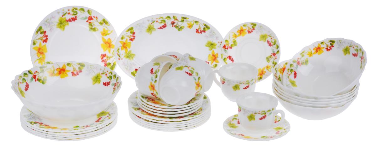 Набор столовой посуды Chinbull Оттавиа, 32 предмета115510Набор Chinbull Оттавиа состоит из 6 обеденных тарелок, 6 десертных тарелок, 6 суповых тарелок, 6 чашек, 6 блюдец, салатника и овального блюда. Изделия выполнены из высококачественной стеклокерамики и декорированы красочным изображением цветов и ягод. Посуда отличается прочностью, гигиеничностью и долгим сроком службы, она устойчива к появлению царапин и резким перепадам температур. Такой набор прекрасно подойдет как для повседневного использования, так и для праздников.Набор столовой посуды Chinbull Оттавиа- это не только яркий и полезный подарок для родных и близких, а также великолепное дизайнерское решение для вашей кухни или столовой. Можно мыть в посудомоечной машине и использовать в микроволновой печи. Диаметр обеденной тарелки (по верхнему краю): 20 см. Высота обеденной тарелки: 1,8 см.Диаметр десертной тарелки (по верхнему краю): 17,5 см. Высота десертной тарелки: 1,8 см. Диаметр суповой тарелки (по верхнему краю): 18 см.Высота суповой тарелки: 6 см.Диаметр салатника (по верхнему краю): 22,5 см.Высота салатника: 7,3 см.Размер блюда: 25 см х 17 см х 2 см.Диаметр блюдца (по верхнему краю): 13,7 см.Высота блюдца: 1,6 см.Диаметр чашки (по верхнему краю): 8,5 см.Высота чашки: 6,5 см.Объем чашки: 200 мл.