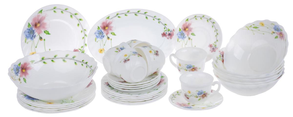 Набор столовой посуды Chinbull Флоренция, 32 предмета54 009312Набор Chinbull Флоренция состоит из 6 обеденных тарелок, 6 десертных тарелок, 6 суповых тарелок, 6 чашек, 6 блюдец, салатника и овального блюда. Изделия выполнены из высококачественной стеклокерамики и имеют яркий дизайн с изящным рисунком цветов. Посуда отличается прочностью, гигиеничностью и долгим сроком службы, она устойчива к появлению царапин и резким перепадам температур. Такой набор прекрасно подойдет как для повседневного использования, так и для праздников.Набор столовой посуды Chinbull Флоренция- это не только яркий и полезный подарок для родных и близких, а также великолепное дизайнерское решение для вашей кухни или столовой. Можно мыть в посудомоечной машине и использовать в микроволновой печи. Диаметр обеденной тарелки (по верхнему краю): 20 см. Высота обеденной тарелки: 1,8 см.Диаметр десертной тарелки (по верхнему краю): 17,5 см. Высота десертной тарелки: 1,8 см. Диаметр суповой тарелки (по верхнему краю): 18 см.Высота суповой тарелки: 6 см.Диаметр салатника (по верхнему краю): 22,5 см.Высота салатника: 7,3 см.Размер блюда: 25 см х 17 см х 2 см.Диаметр блюдца (по верхнему краю): 13,7 см.Высота блюдца: 1,6 см.Диаметр чашки (по верхнему краю): 8,5 см.Высота чашки: 6,5 см.Объем чашки: 200 мл.