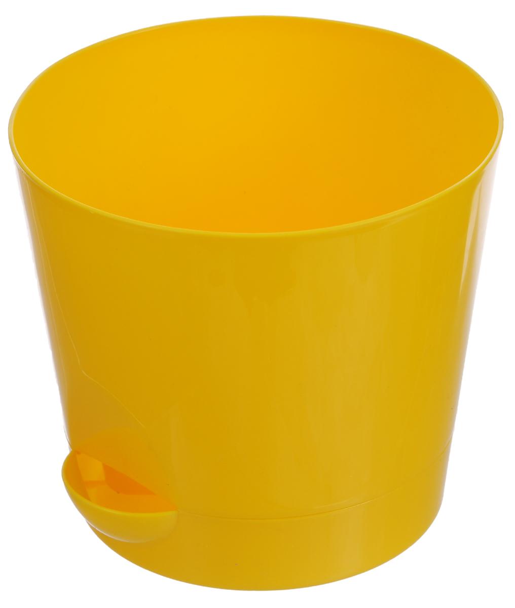 Кашпо Idea Ника, с прикорневым поливом, с поддоном, цвет: желтый, 800 млSS 4041Кашпо Idea Ника изготовлено из высококачественного полипропилена. В комплект входит поддон со специальной выемкой, благодаря которому имеется возможность прикорневого полива. Изделие подходит для выращивания растений и цветов в домашних условиях. Такое кашпо станет прекрасным дополнением интерьера. Объем горшка: 800 мл. Диаметр горшка (по верхнему краю): 12 см. Высота горшка: 10,7 см. Диаметр поддона: 10 см.