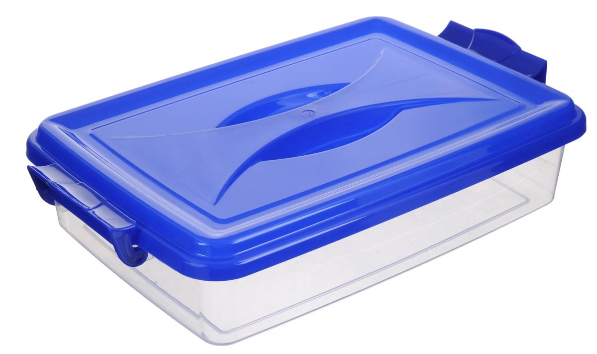 Контейнер Альтернатива, цвет: прозрачный, синий, 4,5 лPANTERA SPX-2RSКонтейнер Альтернатива, выполненный из прочного пластика, предназначен для хранения различных мелких вещей. Крышка легко открывается и плотно закрывается. Прозрачные стенки позволяют видеть содержимое. По бокам предусмотрены две удобные ручки, с помощью которых контейнер закрывается.Контейнер поможет хранить все в одном месте, а также защитить вещи от пыли, грязи и влаги.Размер контейнера (с учетом ручек): 36,5 см х 23,5 см х 9 см.