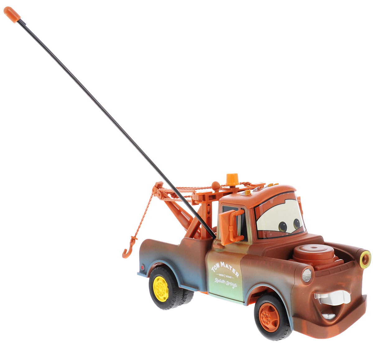 """Машина на радиоуправлении Dickie Toys """"Мэтр"""" несомненно понравится любому мальчишке. Игрушка выполнена в виде героя мультфильма """"Тачки"""" грузовика Мэтра. Детализированный корпус модели изготовлен из пластика, колесики прорезинены, что обеспечивает надежное сцепление с любой гладкой поверхностью. Пульт управления позволяет автомобилю двигаться, вперед, назад, влево и вправо, а также обеспечивает точный контроль над скоростью движения автомобиля, позволяя использовать режим """"турбо"""". Машинка дополнена подвижным подъемным краном. Ваш ребенок часами будет играть с моделью, придумывая различные истории и устраивая соревнования. Порадуйте его таким замечательным подарком! Для работы автомобиля необходимо докупить 3 батарейки типа АА (в комплект не входят). Для работы пульта управления необходимо докупить 3 батарейки типа ААА (в комплект не входят)."""