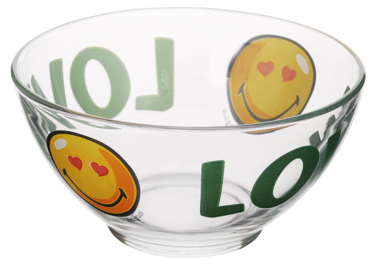 Пиала Luminarc Smiley World First, 500 мл115510Пиала Luminarc Smiley World First изготовлена из высококачественного стекла. Изделие прекрасно подойдет для салатов, супа или мороженого. Благодаря оригинальному дизайну, такая пиала станет бесспорным украшением вашего стола. Она дополнит коллекцию кухонной посуды и будет служить долгие годы. Объем пиалы: 500 мл. Диаметр пиалы (по верхнему краю): 13 см. Диаметр дна: 5 см.Высота пиалы: 7 см.
