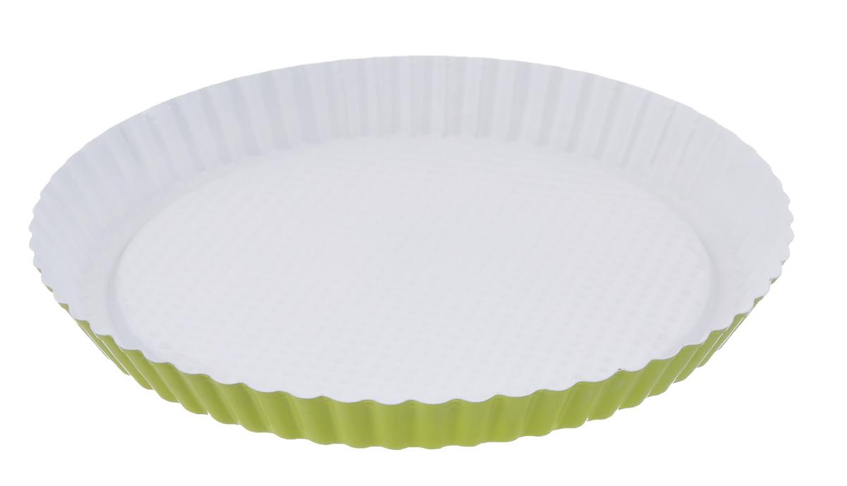 Форма для пирога Miolla рифленая, круглая, с керамическим покрытием, цвет: белый, зеленый, диаметр 28 смFS-91909Форма для пирога Miolla изготовлена из углеродистой стали с керамическим покрытием, благодаря чему пища не пригорает и не прилипает к стенкам посуды. Кроме того, готовить можно с добавлением минимального количества масла и жиров. Керамическое покрытие также обеспечивает легкость мытья. Внутренние боковые стенки рельефные, что придаст вашей выпечке особую аппетитную форму. Изделие подходит для использования в духовом шкафу.Не использовать в СВЧ-печи и на открытом огне. Можно мыть в посудомоечной машине.Диаметр формы по верхнему краю: 28 см.Высота стенок формы: 3 см.