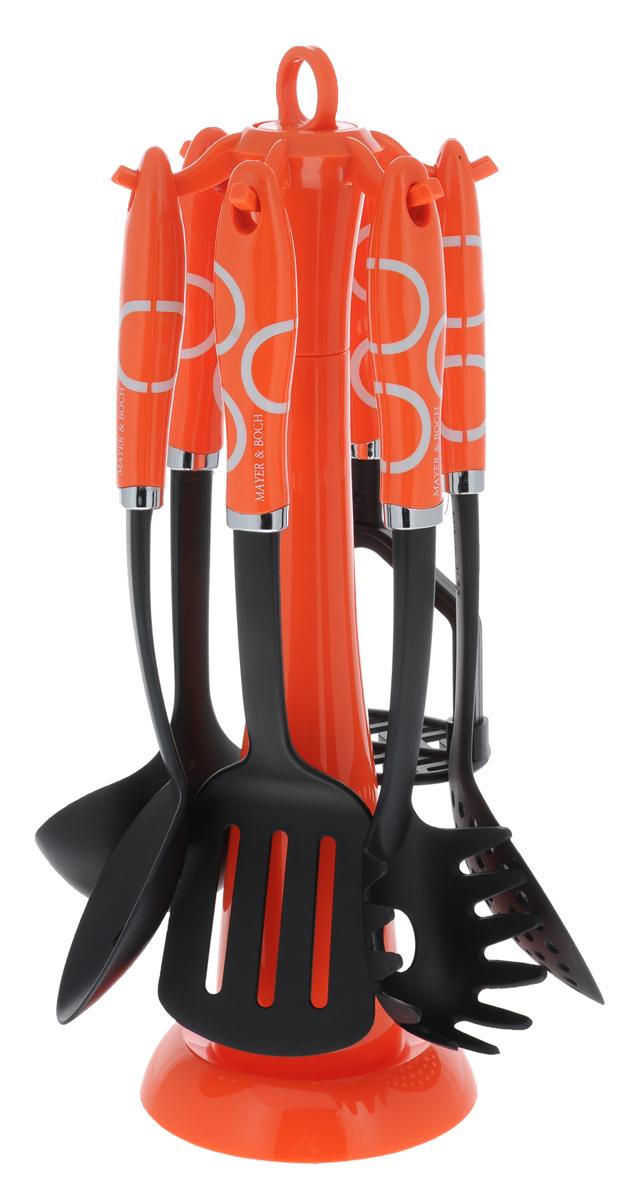 Набор кухонных принадлежностей Mayer & Boch, цвет: черный, оранжевый, 7 предметов. 22421023612Набор кухонных принадлежностей Mayer & Boch станет незаменимым помощником на кухне, поскольку в набор входят самые необходимые кухонные аксессуары: ложка для спагетти, половник, шумовка, ложка с прорезями, лопатка с прорезями, картофелемялка. Предметы набора размещены на элегантной пластиковой подставке. Ручки изделий, выполненные из пластика, оснащены отверстием для подвешивания на крючок. Рабочие поверхности предметов набора изготовлены из нейлона.Размер подставки: 13 см х 13 см х 39 см.Длина половника: 30 см.Размер рабочей поверхности половника: 8 см х 9 см.Длина лопатки с прорезями: 32 см.Размер рабочей поверхности лопатки с прорезями: 10 см х 8 см.Длина ложки с прорезями: 31,5 см.Размер рабочей поверхности ложки с прорезями: 10 см х 6 см.Длина ложки для спагетти: 31 см.Размер рабочей поверхности ложки для спагетти: 6 см х 8 см.Длина шумовки: 32 см.Размер рабочей поверхности шумовки: 11 см х 11 см.Длина картофелемялки: 25 см.Размер рабочей поверхности картофелемялки: 7 см х 10 см.