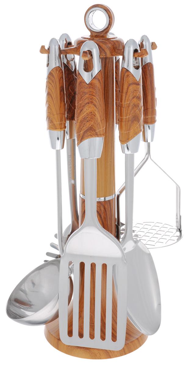 Набор кухонных принадлежностей Mayer&Boch, цвет: металлик, коричневый, 7 предметов. 22429115510Набор кухонных принадлежностей Mayer & Boch станет незаменимым помощником на кухне, поскольку в набор входят самые необходимые кухонные аксессуары: ложка для спагетти, половник, шумовка, ложка кулинарная, лопатка с прорезями, картофелемялка. Предметы набора изготовлены из нержавеющей стали и размещены на элегантной пластиковой подставке. Ручки изделий, выполненные из пластика, оснащены отверстием для подвешивания на крючок. Пластиковые части изделия имитируют дерево.Размер подставки: 11 см х 11 см х 39 см.Длина половника: 33 см.Размер рабочей поверхности половника: 8,5 см х 9 см.Длина лопатки с прорезями: 32 см.Размер рабочей поверхности лопатки с прорезями: 10 см х 7,5 см.Длина ложки: 32 см.Размер рабочей поверхности ложки: 10 см х 7 см.Длина ложки для спагетти: 29 см.Размер рабочей поверхности ложки для спагетти: 6 см х 8 см.Длина шумовки: 32 см.Размер рабочей поверхности шумовки: 11 см х 11 см.Длина картофелемялки: 23 см.Размер рабочей поверхности картофелемялки: 8 см х 8 см.