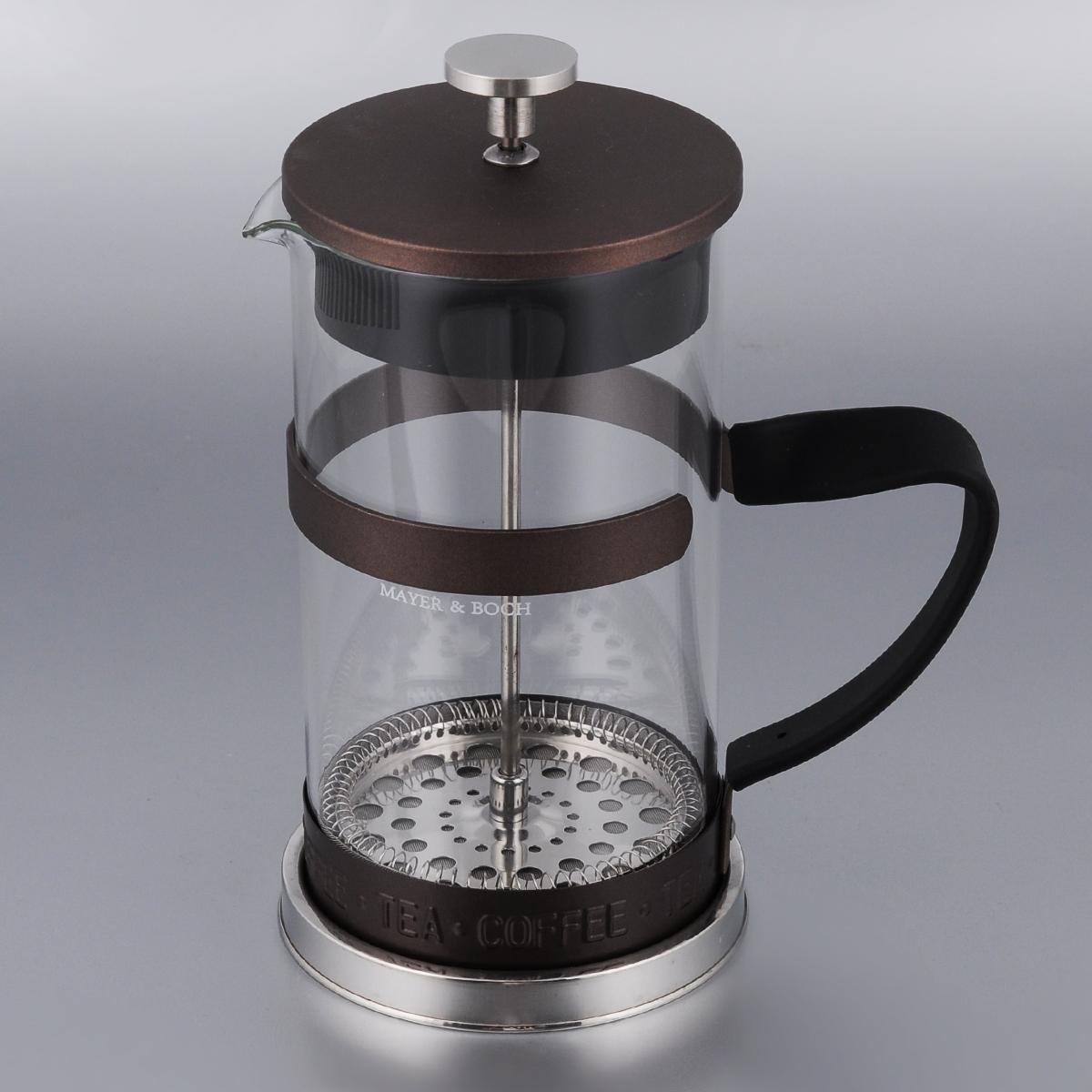Френч-пресс Mayer & Boch, цвет: прозрачный, коричневый, 1 лVT-1520(SR)Френч-пресс Mayer & Boch изготовлен из высококачественной нержавеющей стали и жаропрочного стекла. Фильтр-поршень оснащен ситечком для обеспечения равномерной циркуляции воды. Засыпая чайную заварку или кофе под фильтр, заливая горячей водой, вы получаете ароматный напиток с оптимальной крепостью и насыщенностью. Остановить процесс заваривания легко, для этого нужно просто опустить поршень, и все уйдет вниз, оставляя вверху напиток, готовый к употреблению. Изделие оснащено эргономичной прорезиненной ручкой, она обеспечит безопасный и удобный хват. Такой френч-пресс позволит быстро и просто приготовить свежий и ароматный кофе или чай. Можно мыть в посудомоечной машине.Не использовать в микроволновой печи.Диаметр колбы (по верхнему краю): 9,5 см. Высота френч-пресса (без учета крышки): 18,5 см.Высота френч-пресса (с учетом крышки): 21,5 см. Объем френч-пресса: 1 л.