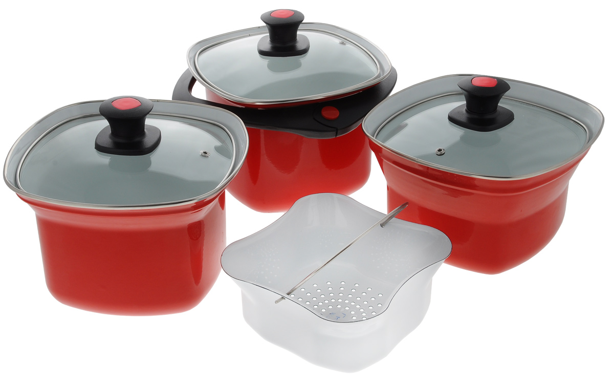 Набор эмалированной посуды Elros Квадро, цвет: красный, 8 предметов68/5/3Набор эмалированной посуды Elros Квадро состоит из трех квадратных кастрюль, дуршлага, 3 крышек и универсальной ручки. Кастрюли выполнены из нержавеющей стали с эмалевым покрытием. Прочность эмалированного покрытия позволяет легко мыть посуду. Такое покрытие инертно и устойчиво к пищевым кислотам, не вступает во взаимодействие с продуктами и не искажает их вкусовые свойства. Не вызывает аллергических реакций. Крышки изготовлены из жаропрочного стекла, а ручка - из прочного пластика. Многофункциональность набор позволяет использовать его как пароварку, водяную баню или термос. Для приготовления на пару установите дуршлаг, заполненный продуктами, на кастрюлю с кипящей водой и закройте крышкой. Плюсы такого способа приготовления пищи очевидны: продукты сохраняют свой натуральный цвет, запах, форму и вкус, микроэлементы и витамины, содержащиеся в сыром виде. Для приготовления каш, омлетов, соусов, пудингов используйте водяную баню. Поставьте одну кастрюлю на другую, большую из них наполните водой, а в меньшую положите продукты. В результате нагревания большей кастрюли происходит нагревание продуктов в меньшей кастрюле. При этом приготовление блюда происходит равномерно, а температура нагревания не превышает 100°С. Используйте функцию термоса, когда вам необходимо сохранить блюдо теплым. Поставьте одну кастрюлю на другую, в большую кастрюлю налейте необходимое количество горячей воды (около 100°С), а в меньшую кастрюлю поместите ваше блюдо и закройте крышкой. Аналогично можно сохранить холодным молоко или окрошку, применяя лед или холодную воду. В комплекте предусмотрена пластиковая ручка. Ручка надежно фиксируется на кастрюле 4,5 л, а для кастрюль 2,5 и 3,5 л ручка используется для переноски с места на место. Диапазон открывания ручки регулируется двумя пластмассовыми вставками в узле разъема. Для компактного хранения предметы складываются друг в друга, что обеспечивает экономию пространства. Кастр