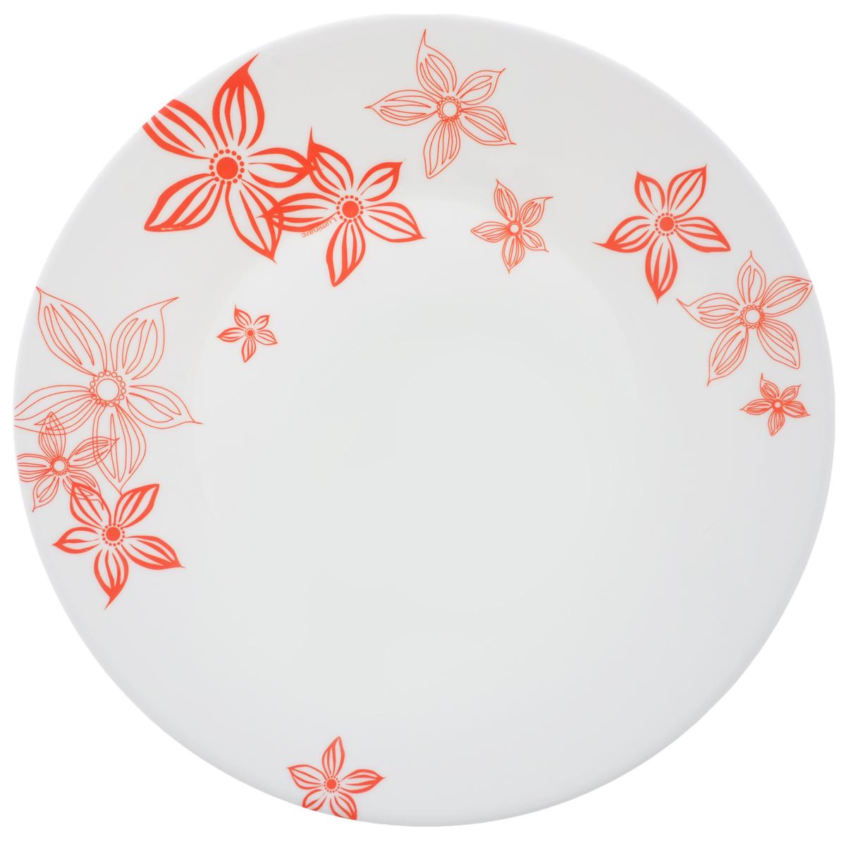 Тарелка десертная Luminarc Talullan, диаметр 19,5 см115510Десертная тарелка Luminarc Talullan, изготовленная из ударопрочного стекла, декорирована изображением цветов. Такая тарелка прекрасно подходит как для торжественных случаев, так и для повседневного использования. Идеальна для подачи десертов, пирожных, тортов и многого другого. Она прекрасно оформит стол и станет отличным дополнением к вашей коллекции кухонной посуды. Диаметр тарелки (по верхнему краю): 19,5 см.