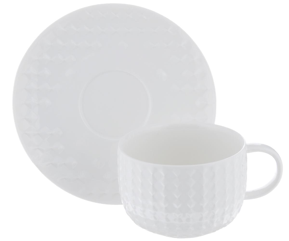 Чайная пара Walmer Sapphire, цвет: белый, 2 предмета115510Чайная пара Walmer Sapphire состоит из чашки и блюдца, изготовленных из фарфора белого цвета и декорированных необычным рельефом.Чайная пара Walmer Sapphire украсит ваш кухонный стол, а также станет замечательным подарком к любому празднику.Не применять абразивные чистящие средства. Объем чашки: 250 мл.Диаметр чашки по верхнему краю: 9 см.Диаметр основания: 5 см.Высота чашки: 6,5 см.Диаметр блюдца: 15,5 см.