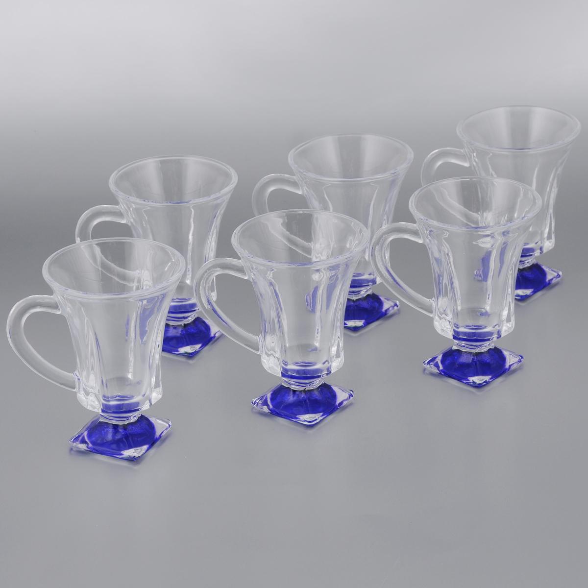 Набор стаканов для глинтвейна Mayer & Boch Loraine, цвет: прозрачный, синий, 150 мл, 6 штVT-1520(SR)Набор Mayer & Boch Loraine состоит из шести стаканов, выполненных из прочного стекла. Предметы набора имеют цветную ножку и декорированы рельефом. Они излучают приятный блеск и издают мелодичный звон. Для удобства изделия оснащены изящной ручкой.Набор Mayer & Boch Loraine прекрасно оформит интерьер кабинета или гостиной и станет отличным дополнением бара. Такой набор также станет хорошим подарком к любому случаю. Диаметр стакана (по верхнему краю): 8 см.Высота стакана: 11 см.