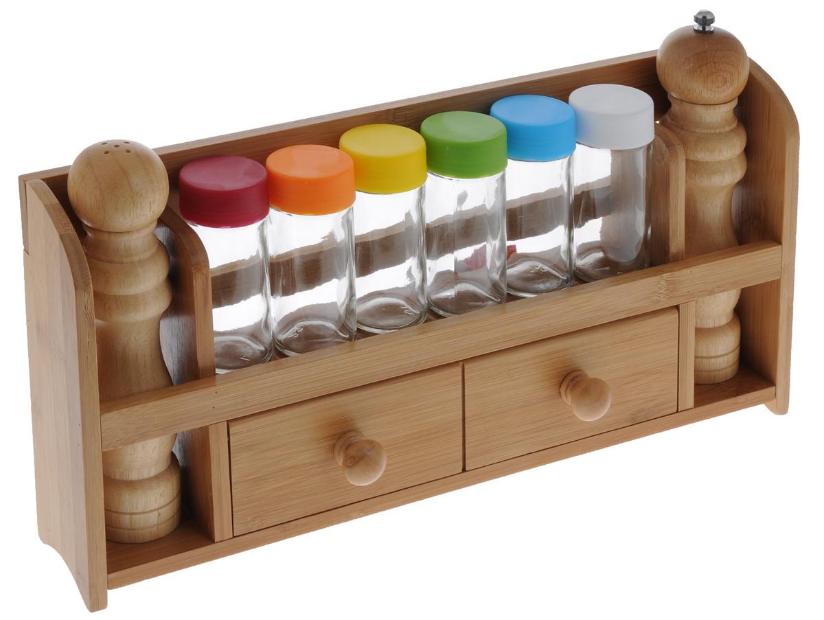 Набор для специй Mayer & Boch, 9 предметов. 23273VT-1520(SR)Набор для специй Mayer & Boch состоит из бамбуковой подставки, 6 стеклянных баночек с цветными пластиковыми крышками, 1 деревянной солонки и 1 деревянной мельницы для перца. Подставку можно закрепить на стене с помощью саморезов (входят в комплект). Подставка дополнена отделением с откидной дверцей.Оригинальный дизайн набора для специй Mayer & Boch Бамбук придется по вкусу и ценителям классики, и тем, кто предпочитает утонченность и изысканность. Такой набор настроит на позитивный лад и подарит хорошее настроение всем, кто любит готовить. Размер баночек: 4 см х 4 см х 10 см.Размер солонки: 5 см х 5 см х 20 см. Размер мельницы для перца: 5 см х 5 см х 21,5 см.Размер подставки: 41 см х 7 см х 21 см.