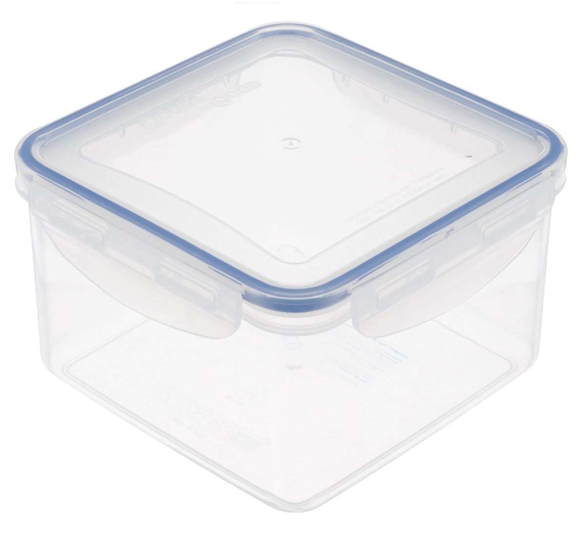 Контейнер Good&Good, цвет: прозрачный, синий, 1,25 лS2-2Квадратный контейнер Good&Good изготовлен из высококачественного полипропилена и предназначен для хранения любых пищевых продуктов. Благодаря особым технологиям изготовления, лотки в течении времени службы не меняют цвет и не пропитываются запахами. Крышка с силиконовой вставкой герметично защелкивается специальным механизмом. Контейнер Good&Good удобен для ежедневного использования в быту.Можно мыть в посудомоечной машине.Размер контейнера (с учетом крышки): 15 см х 15 см х 9 см.