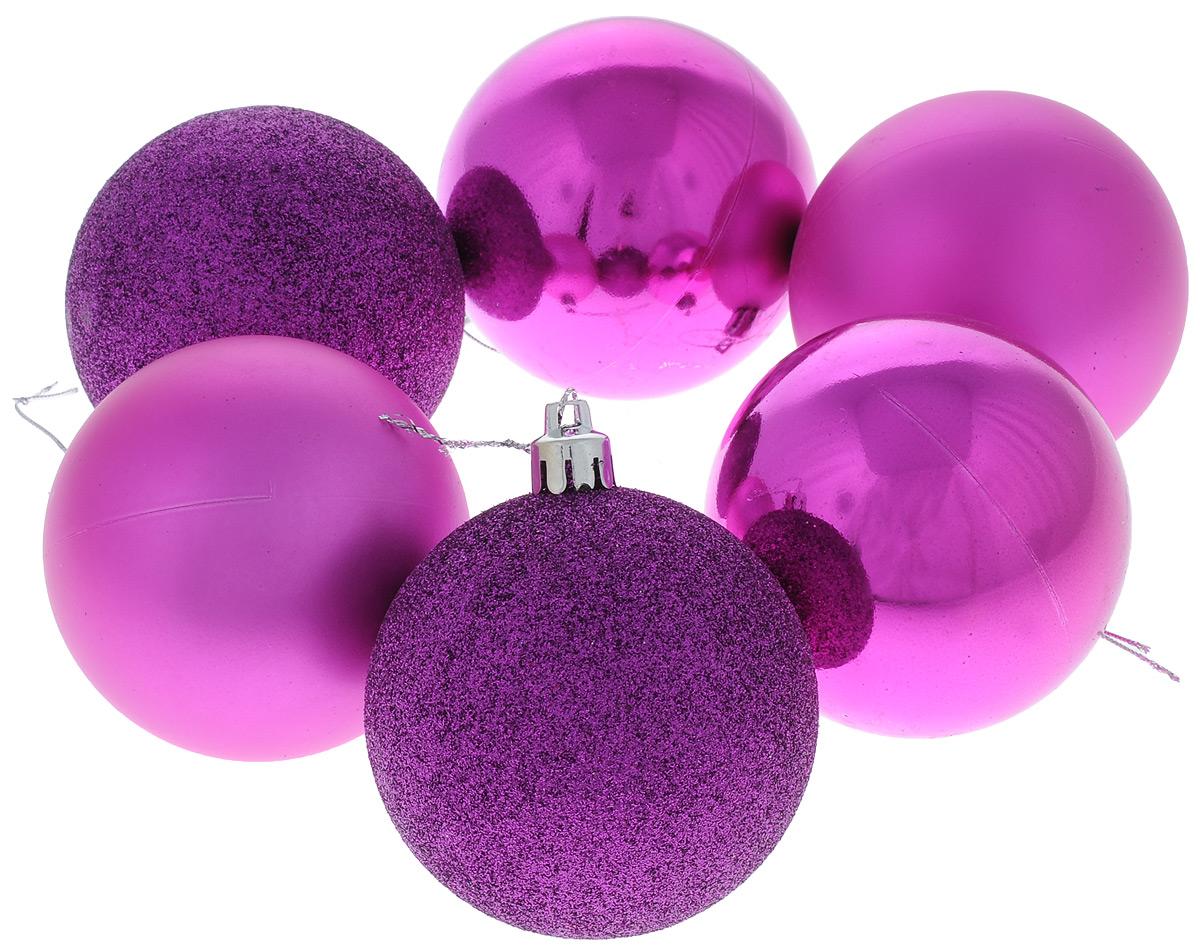 Набор новогодних подвесных украшений Sima-land Шар, цвет: фиолетовый, диаметр 7 см, 6 шт. 68491697775318Набор новогодних подвесных украшений Sima-land Шар прекрасно подойдет для праздничного декора новогодней ели. Набор состоит из 6 пластиковых шаров с глянцевой и матовой поверхностью. Некоторые изделия украшены блестками. Для удобного размещения на елке для каждого шара предусмотрена текстильная петелька.Елочная игрушка - символ Нового года. Она несет в себе волшебство и красоту праздника. Создайте в своем доме атмосферу веселья и радости, украшая новогоднюю елку нарядными игрушками, которые будут из года в год накапливать теплоту воспоминаний. Откройте для себя удивительный мир сказок и грез. Почувствуйте волшебные минуты ожидания праздника, создайте новогоднее настроение вашим дорогим и близким.