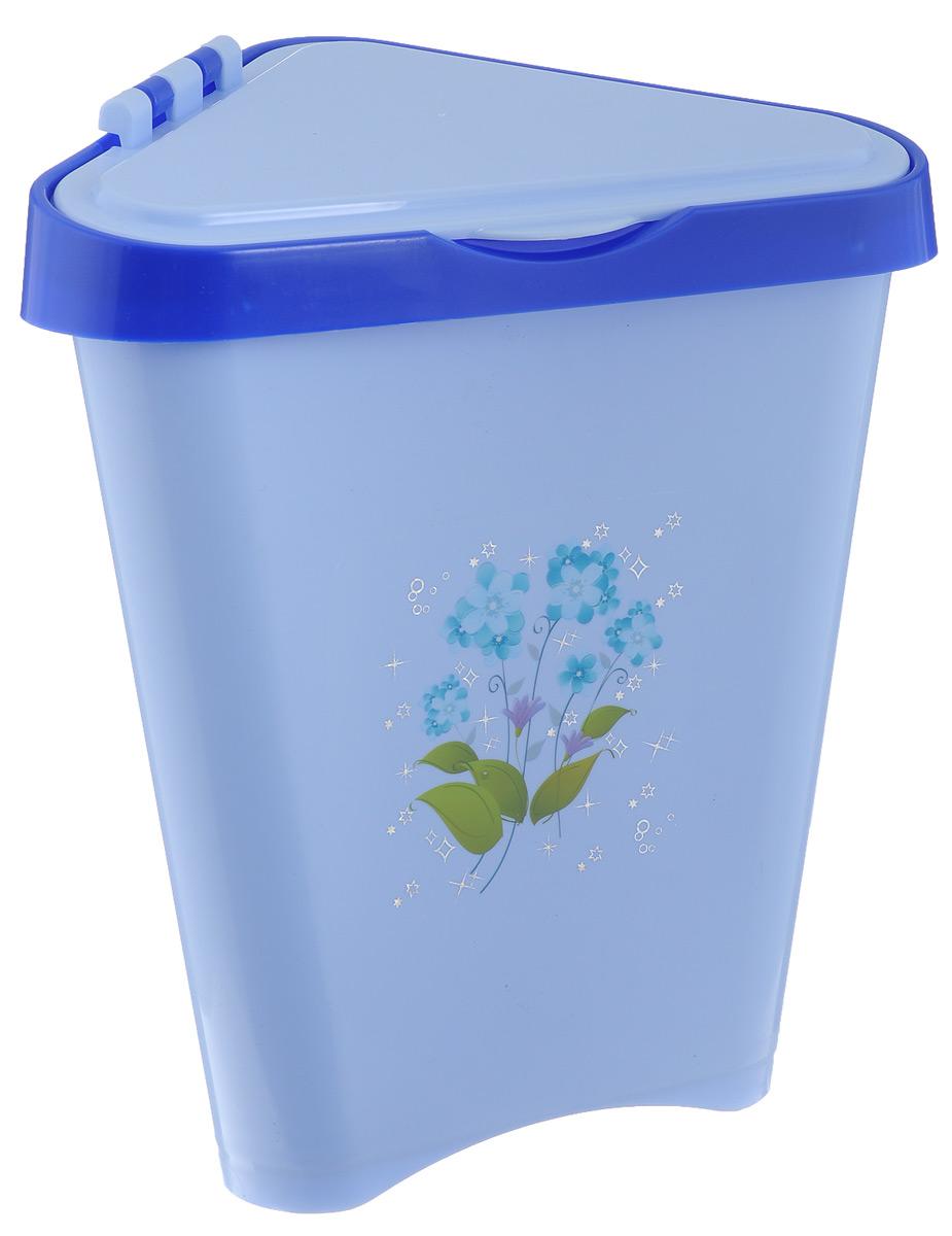 Контейнер для мусора Альтернатива, цвет: голубой, 7 лМ1307_голубойУгловой контейнер для мусора Альтернатива изготовлен из высококачественного цветного пластика и оснащен удобной крышкой, которая открывается одним движением руки и сама закрывается. Изделие украшено цветочным рисунком.Вместительный и компактный контейнер подойдет для дома, дачи, офиса.