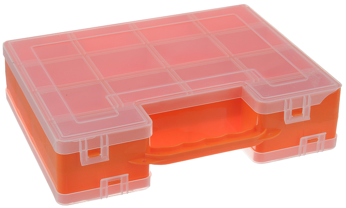 Органайзер для инструментов Idea, двухсторонний, цвет: оранжевый, 27,2 см х 21,7 см х 6,7 смTD 0033Двухсторонний органайзер Idea, изготовленный из пластика, выполнен в форме кейса. Органайзер служит для хранения и переноски инструментов. Внутри - 14 отделений с одной стороны и 9 с другой.Органайзер надежно закрывается при помощи пластмассовых защелок. Крышка выполнена из прозрачного пластика, что позволяет видеть содержимое.Размеры секций (лицевая сторона):- размер (12 секций): 6,6 см х 5,3 см х 3 см;- размер (2 секций): 8,1 см х 3,3 см х 3 см.Размеры секций (задняя сторона): - размер (2 секций): 13,2 см х 5,3 см х 3 см;- размер (1 секции): 26,6 см х 5,3 см х 3 см;- размер (4 секций): 6,6 см х 5,3 см х 3 см;- размер (2 секций): 8,1 см х 3,3 см х 3 см.