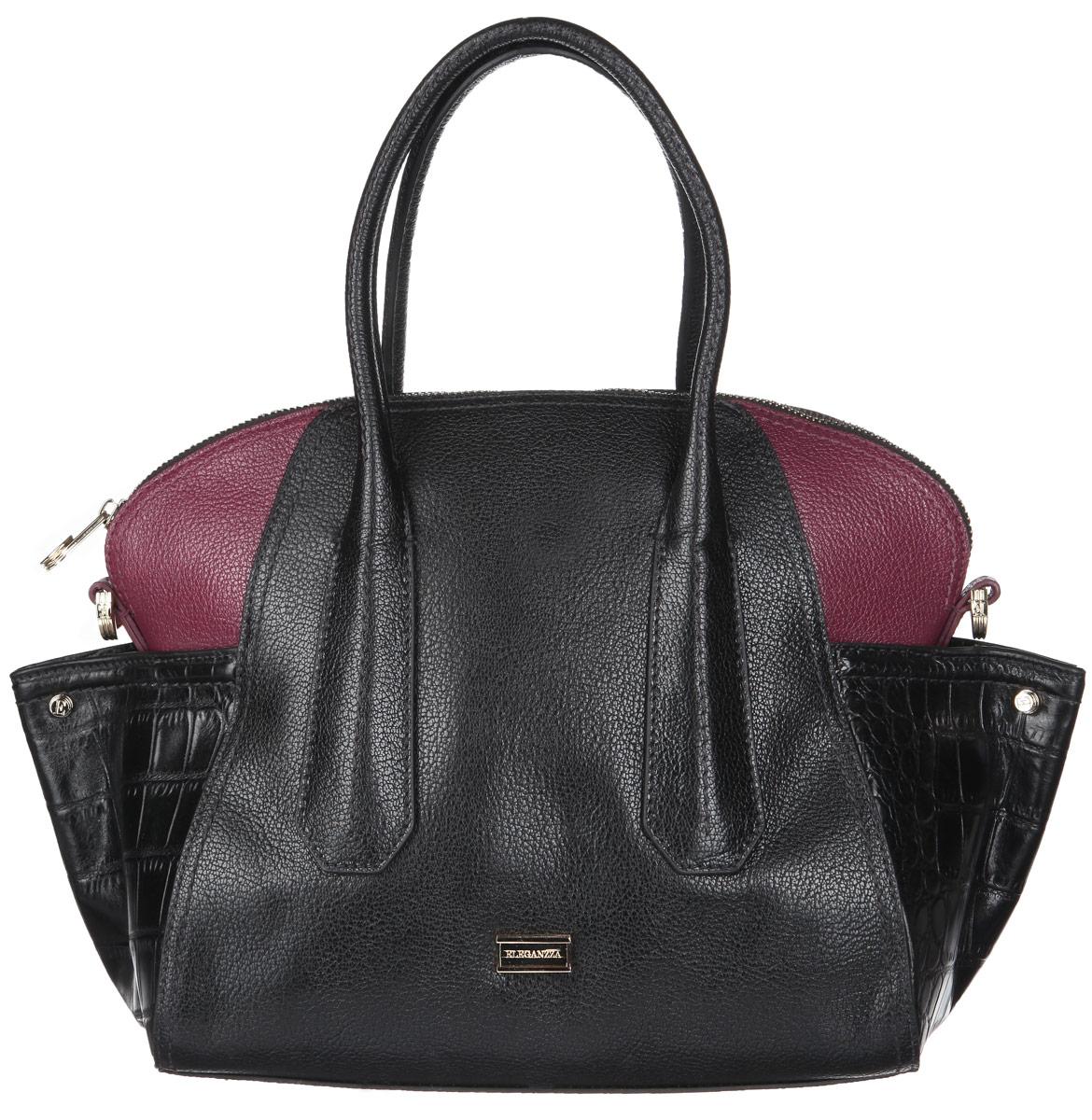 Сумка женская Eleganzza, цвет: черный, бордовый. Z-14243-123008Стильная женская сумка Eleganzza выполнена из натуральной высококачественной кожи с фактурным тиснением и дополнена вставками из кожи под рептилию. Изделие имеет одно основное отделение, закрывающееся на застежку-молнию. Внутри находятся два открытых накладных кармана и прорезной карман на застежке-молнии. Сумка оснащена двумя удобными ручками. В комплект входит съемный плечевой ремень, который регулируется по длине, и фирменный чехол. Основание защищено от повреждений металлическими ножками.Сумка Eleganzza - это стильный аксессуар, который подчеркнет вашу изысканность и индивидуальность и сделает ваш образ завершенным.