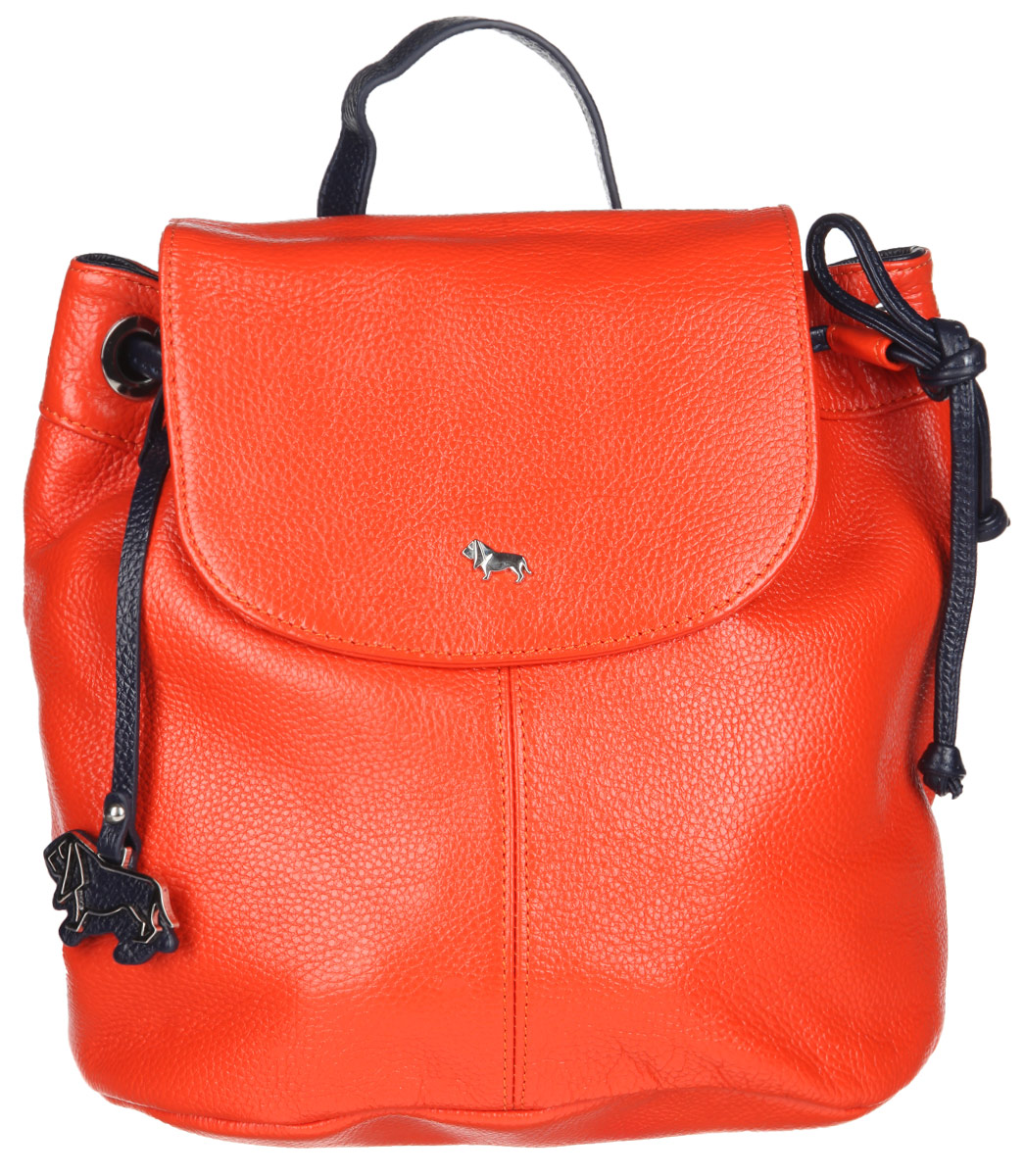 Рюкзак женский Labbra, цвет: оранжевый, темно-синий. L-9916-1BM8434-58AEСтильный женский рюкзак Labbra выполнен из натуральной кожи с фактурным тиснением. Изделие имеет одно отделение, закрывающееся на клапан с магнитом и дополнительно на затягивающийся шнурок. Внутри находится прорезной карман на застежке-молнии и два открытых накладных кармана. Снаружи, на задней стенке расположен прорезной карман на застежке-молнии. Рюкзак оснащен съемной лямкой, регулируемой по длине, которая позволяет носить изделие на плечах, или в руках, как сумку. Изделие украшено фирменным брелоком. В комплект входит фирменный чехол для хранения. Стильный рюкзак Labbra прекрасно дополнит ваш образ.